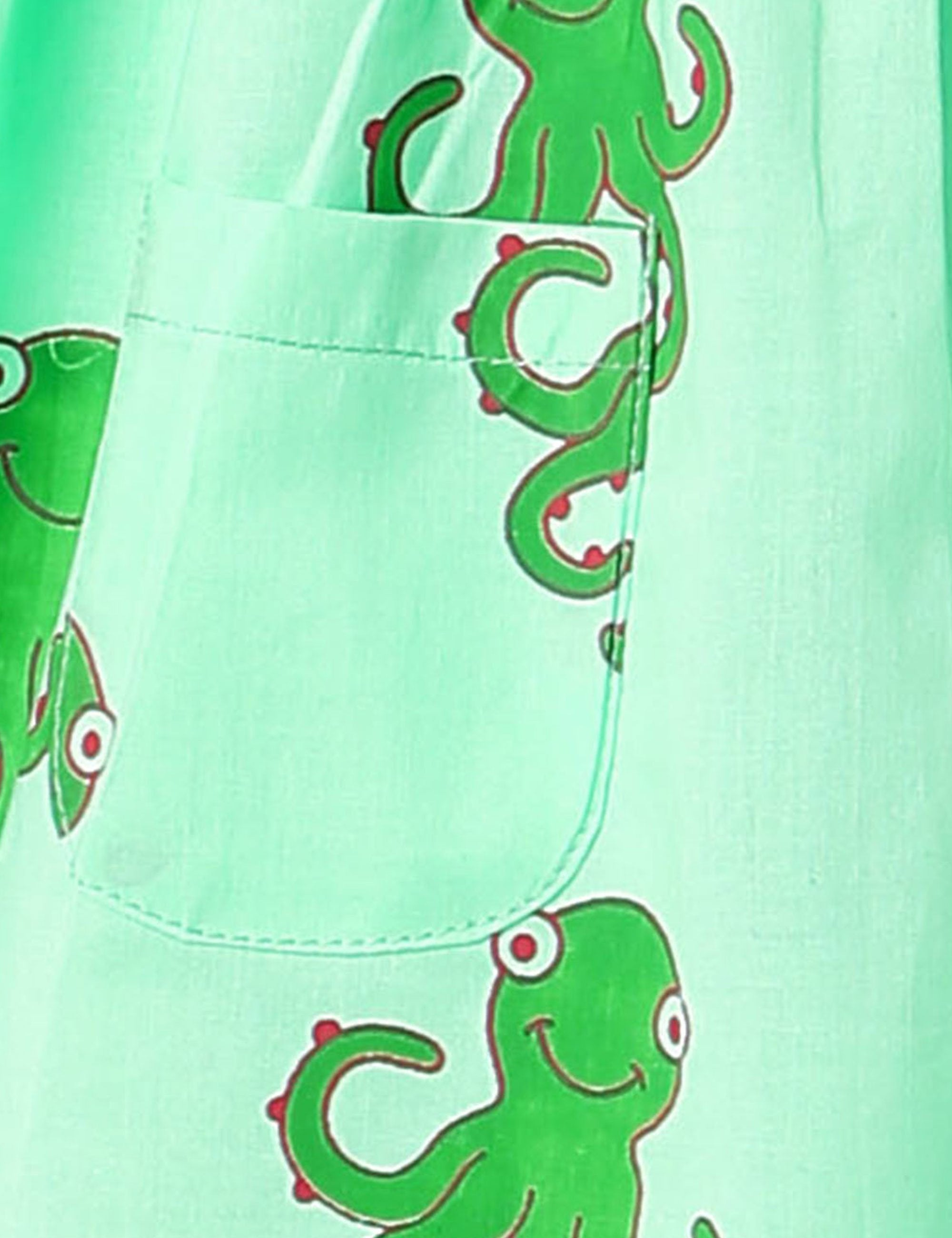 Octopus Print Summer Frock In Green Colour for Girls