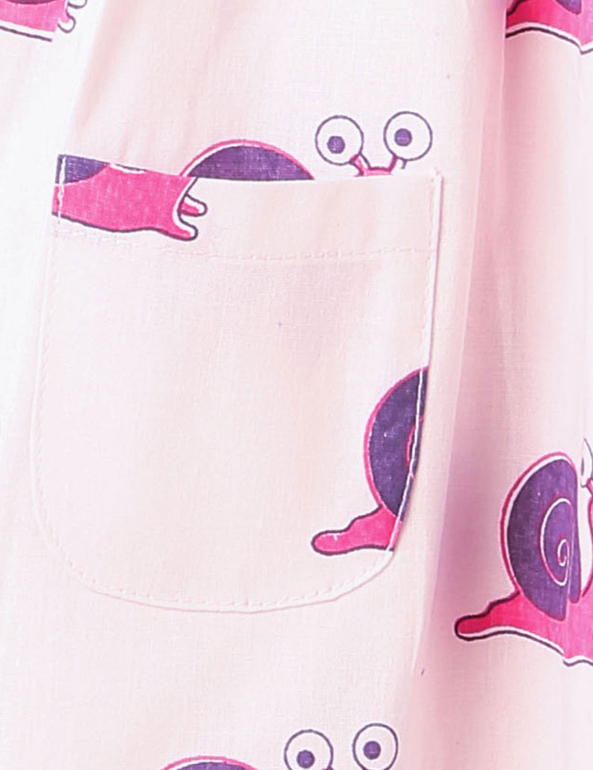 Snail Print Summer Frock In Light Pink Colour for Girls