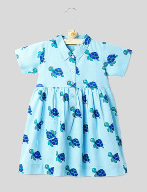 Turtle Print Summer Frock in Blue Colour for Girls