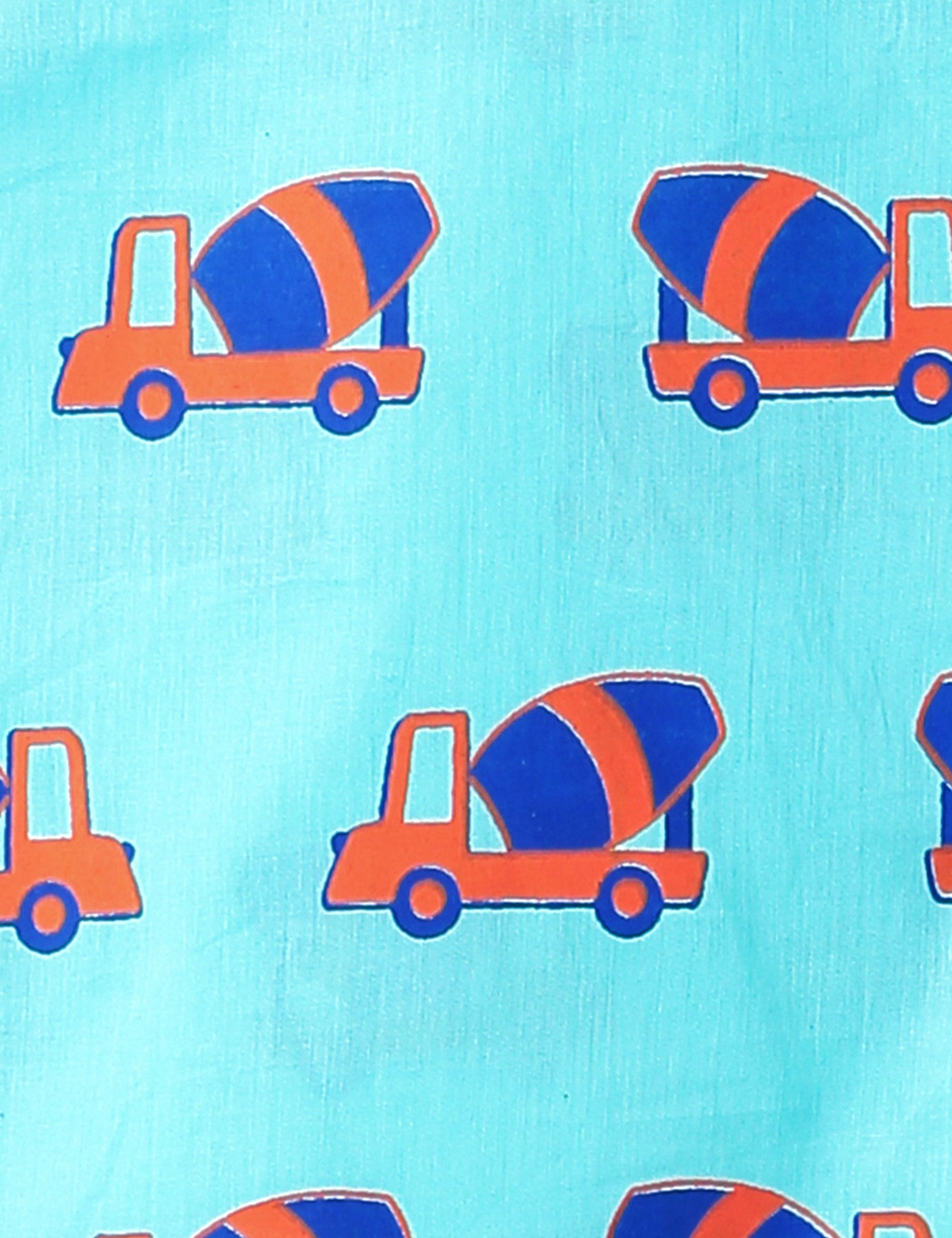Truck Printed Kurta in Blue & Orange Colour for Boys & Girls