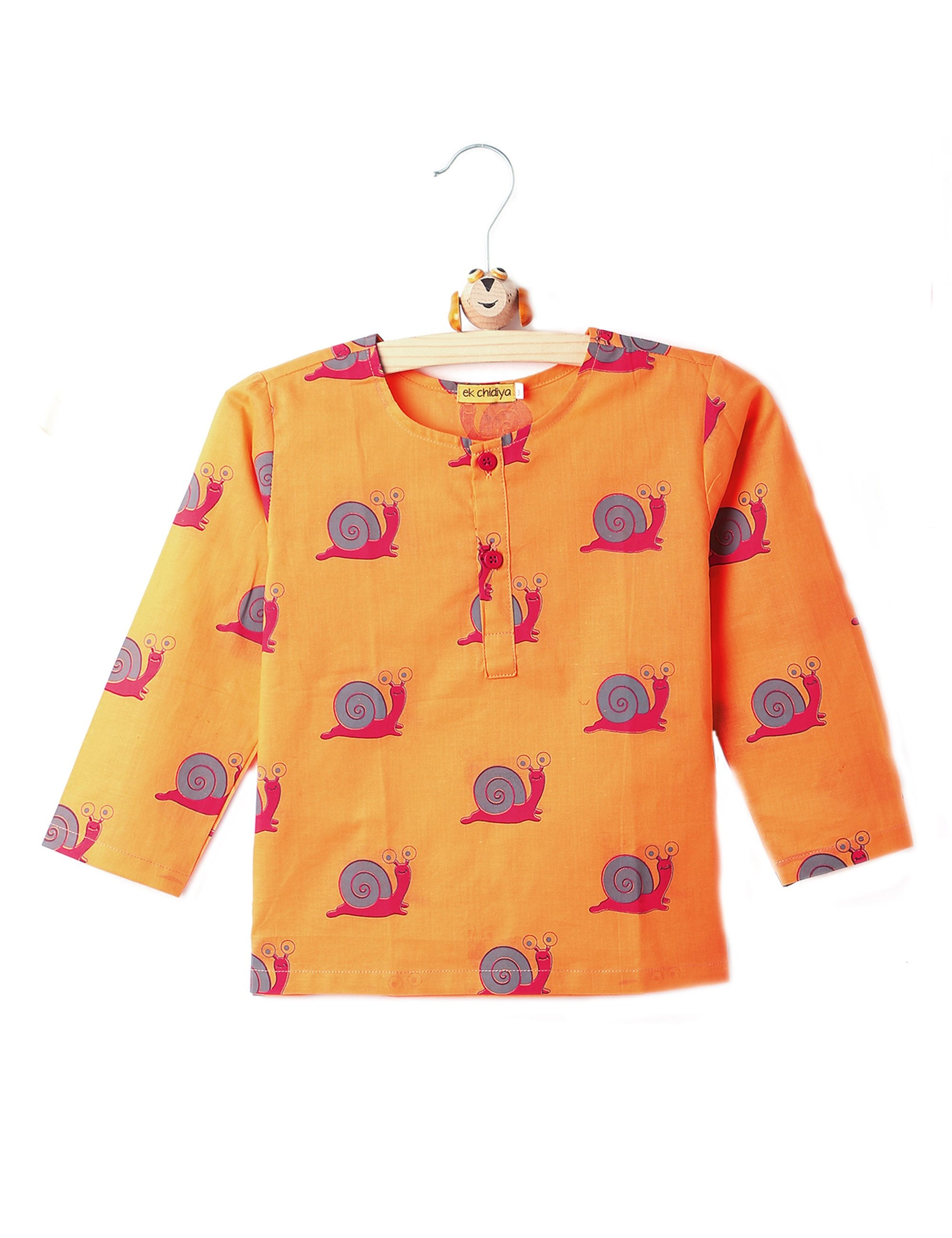 Snail Printed Kurta in Orange Colour for Boys & Girls