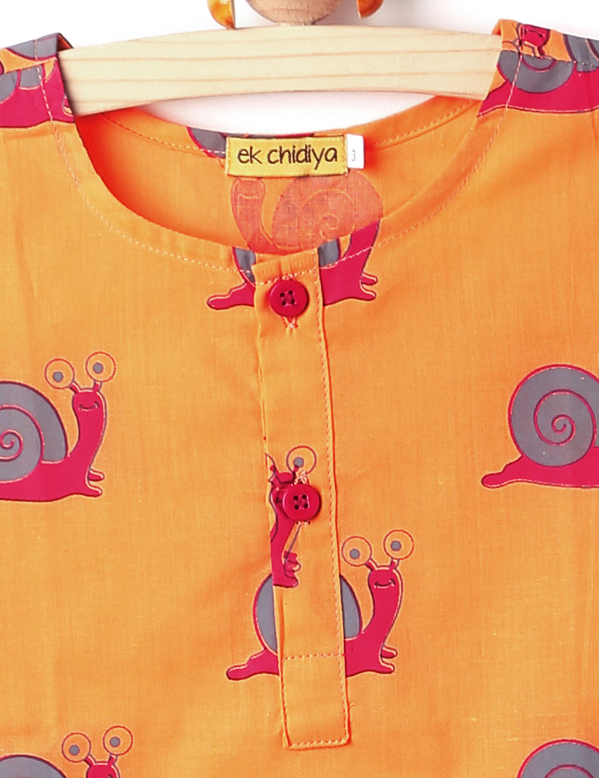 Snail Printed Kurta In Orange Colour for Boys and Girls