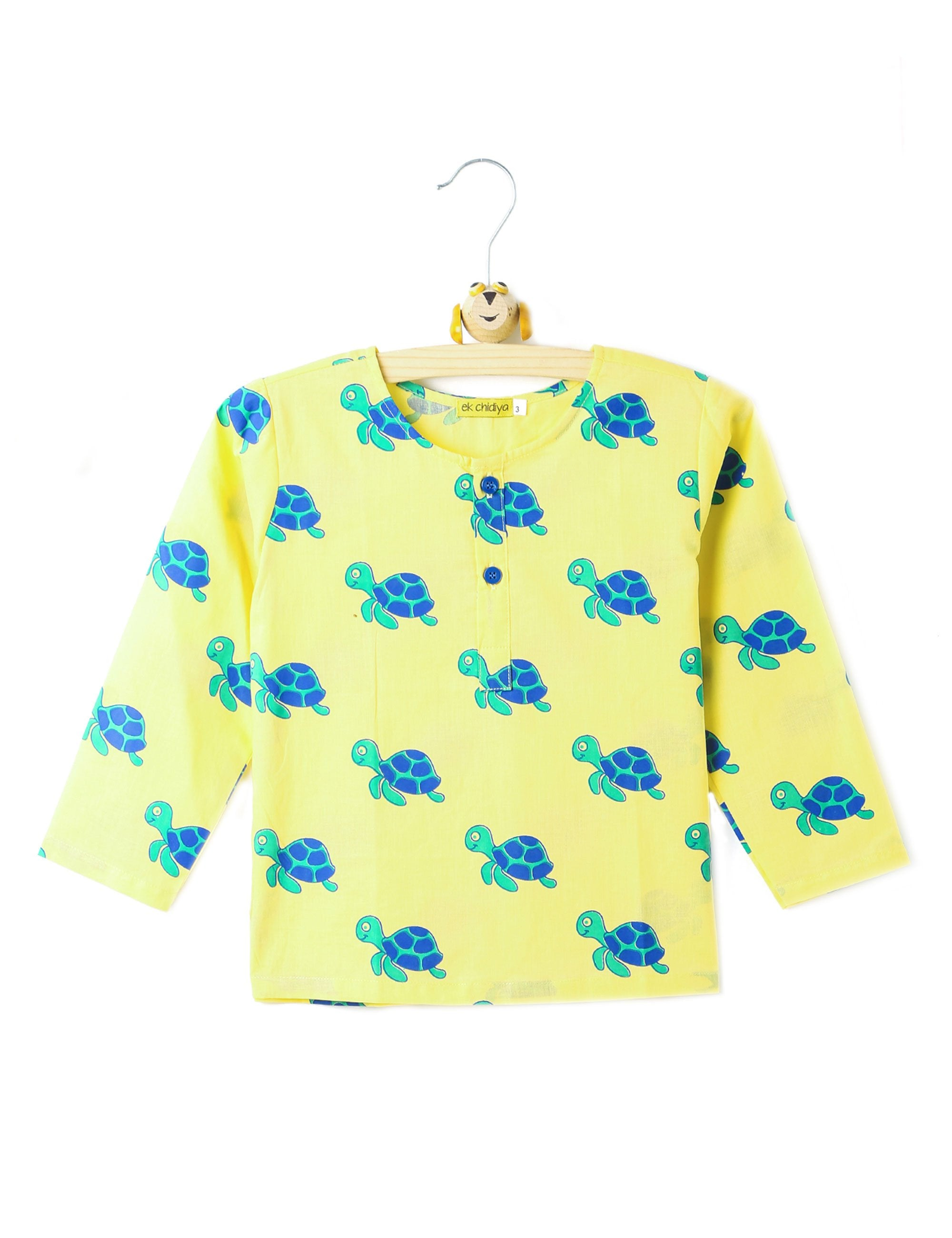 Turtle Printed Kurta in Yellow Colour for Boys & Girls