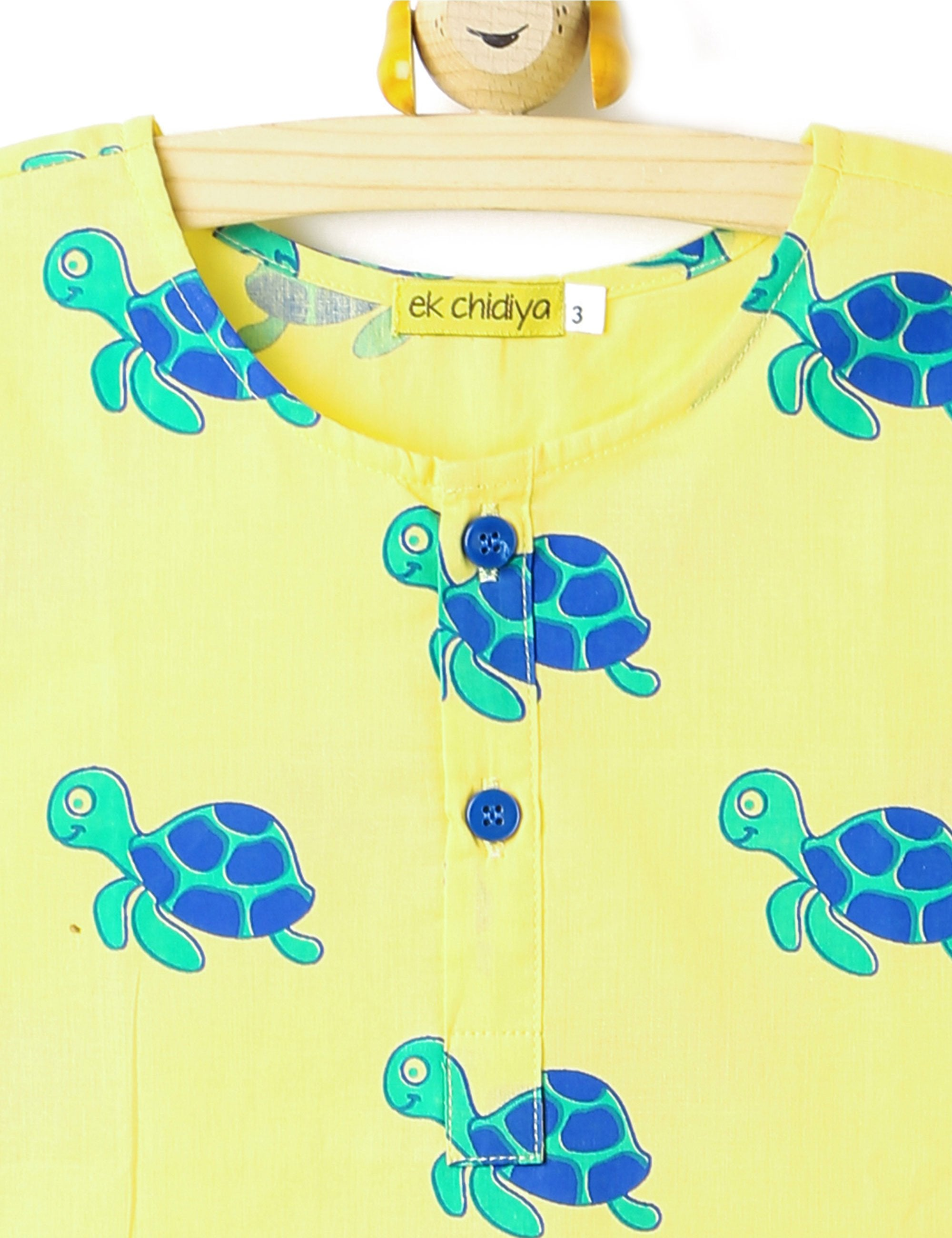 Turtle Printed Kurta In Yellow Colour for Boys and Girls