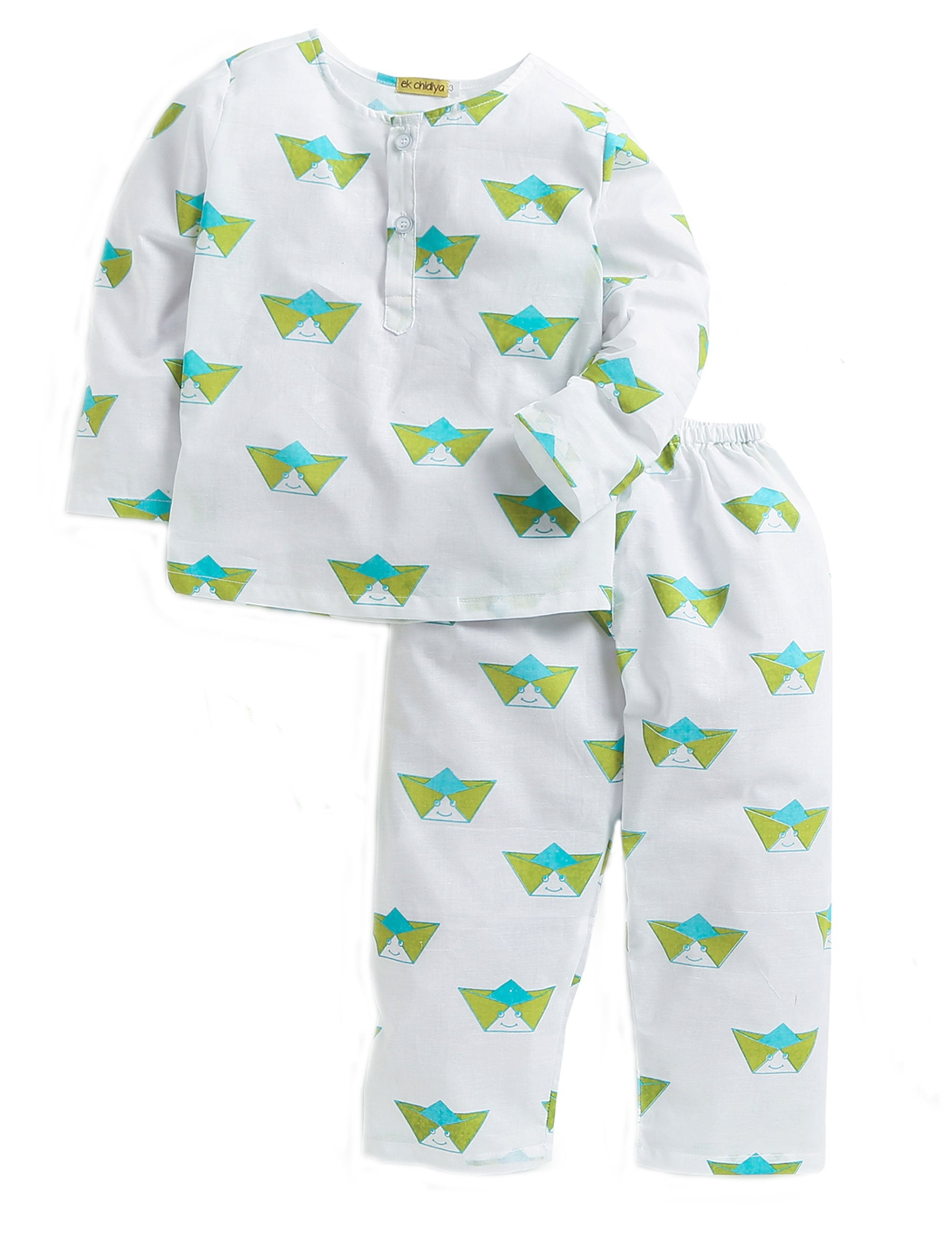Paper Boat Printed Nightwear In White and Green Colour for Boys and Girls