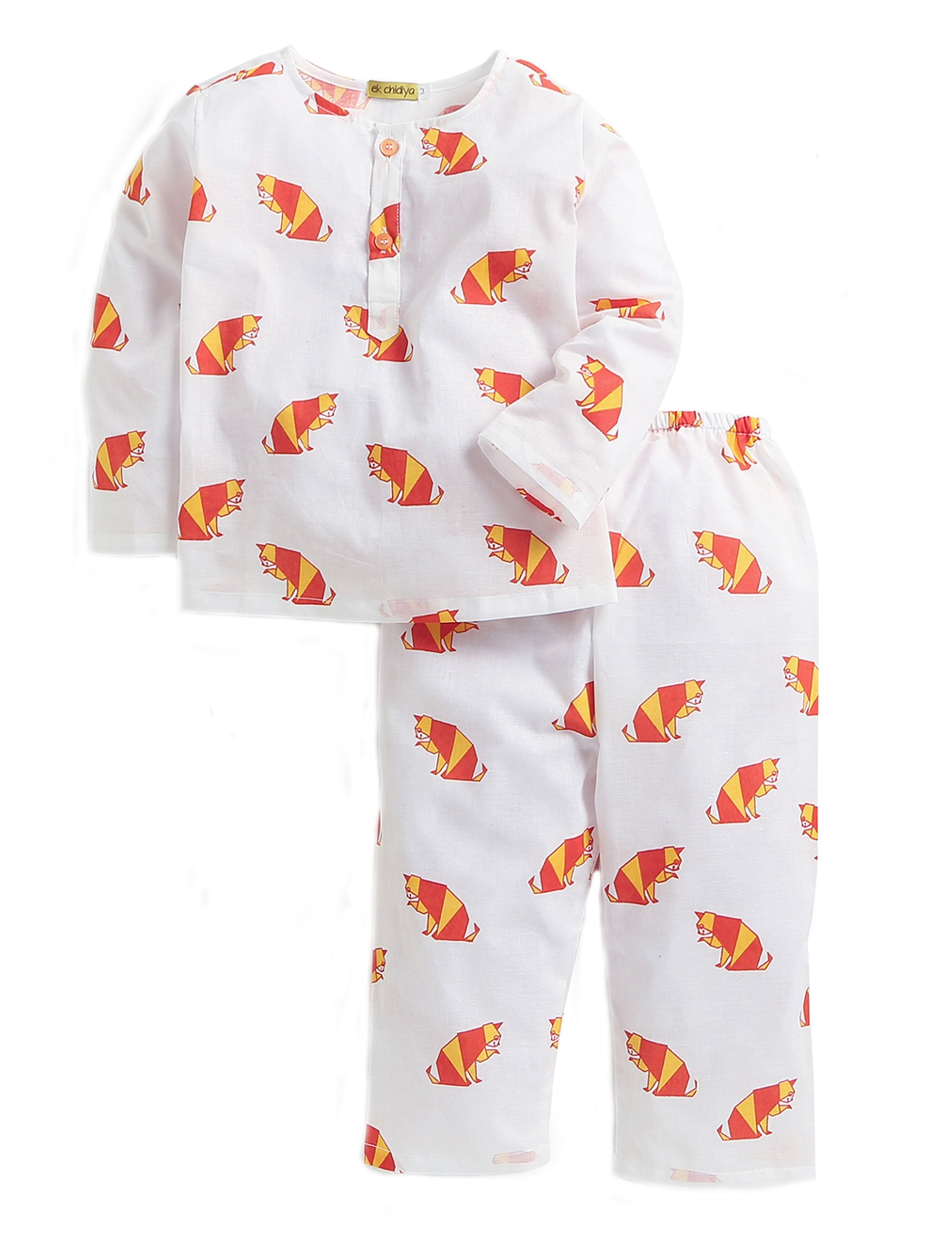 Cat Printed Nightwear In White and Red Colour for Boys and Girls