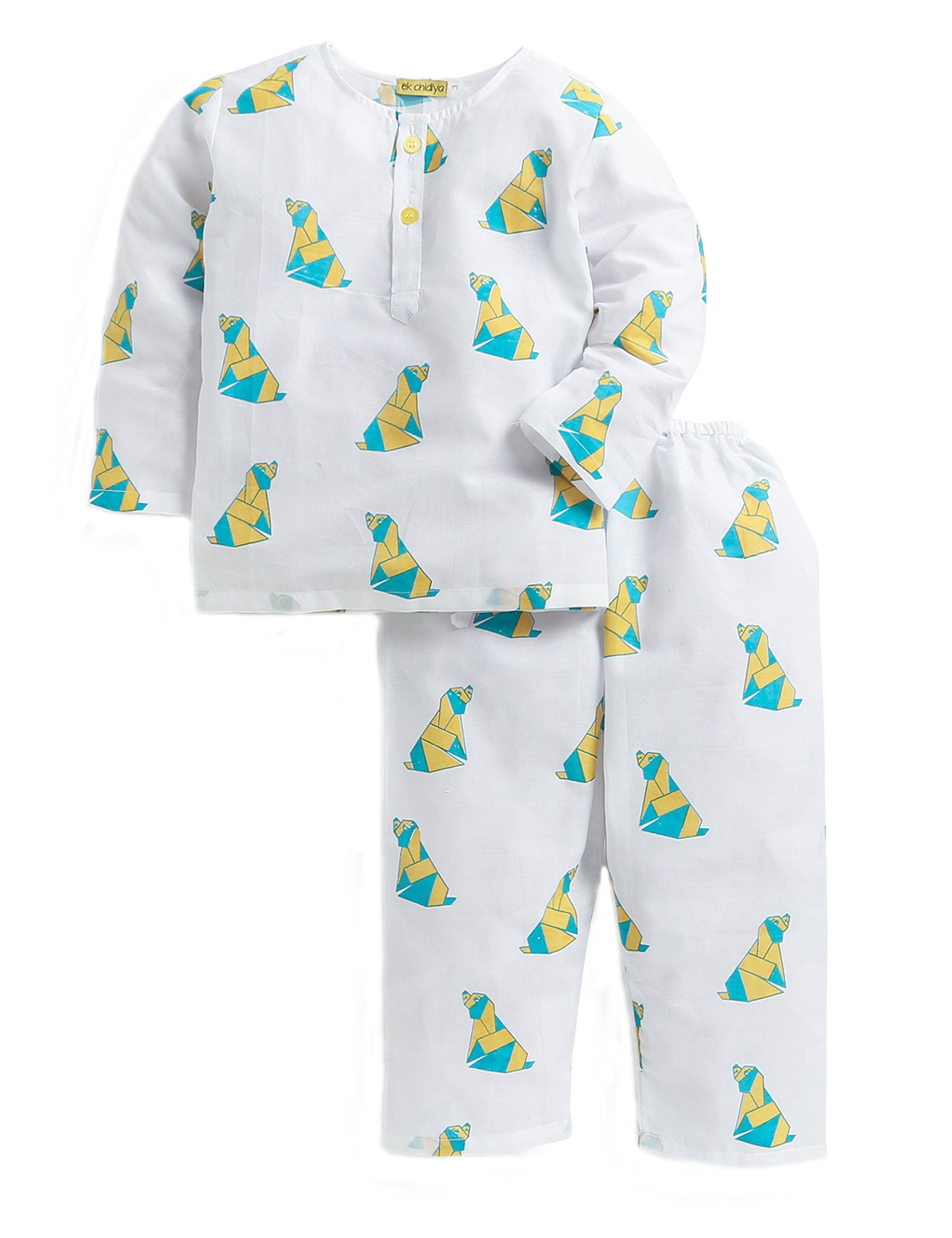 Doggie Printed Nightwear In White and Yellow Colour for Boys and Girls