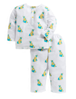 Doggie Printed Nightwear in White & Yellow Colour for Boys and Girls
