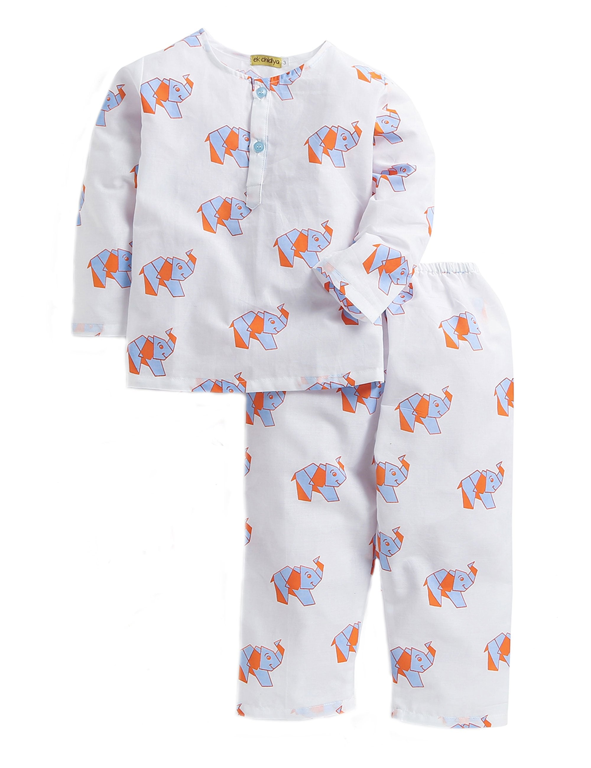 Elephant Print Nightwear In White and Blue Colour for Boys and Girls