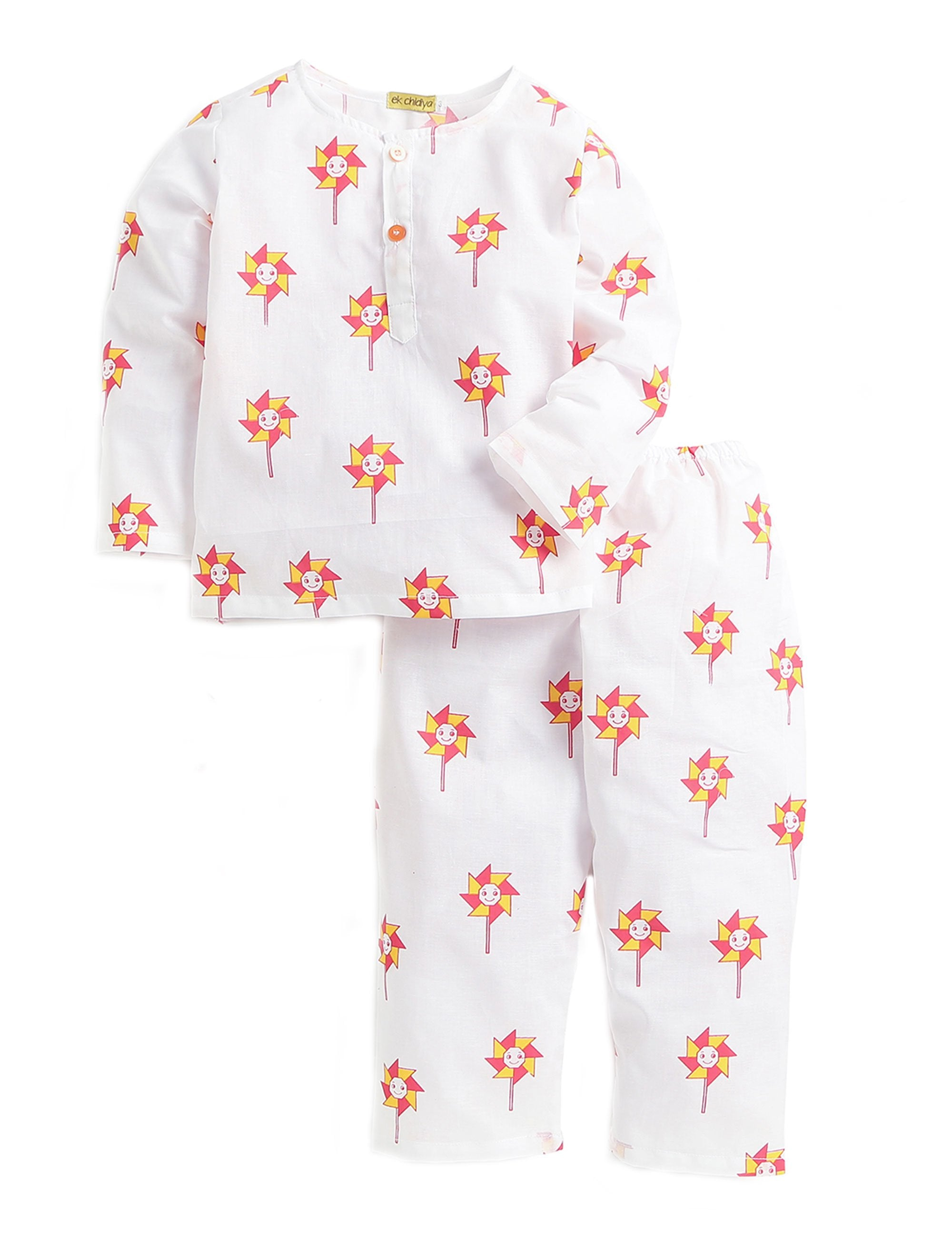Pinwheel Printed Nightwear In White and Orange Colour for Boys and Girls