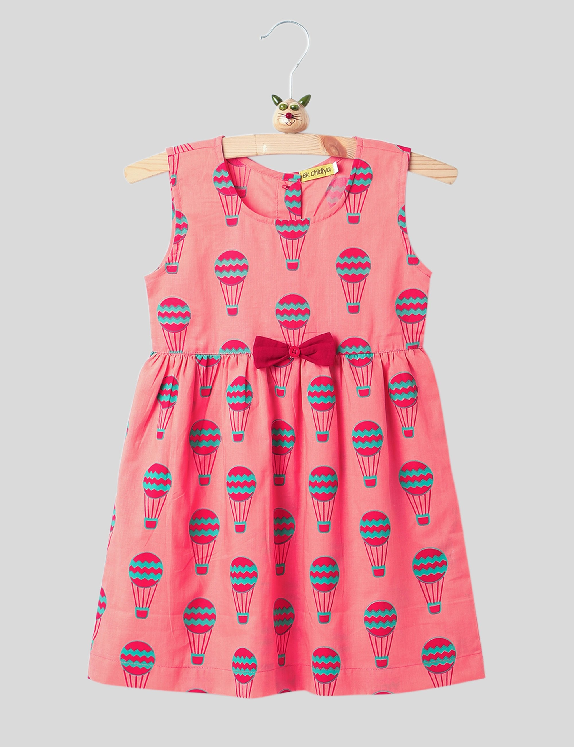 Printed Summer Frock In Peach and Blue Colour for Girls