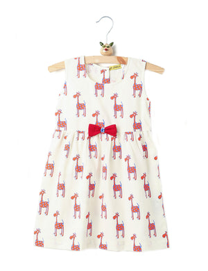 Giraffe Print Summer Frock in Orange & Blue Colour for Girls