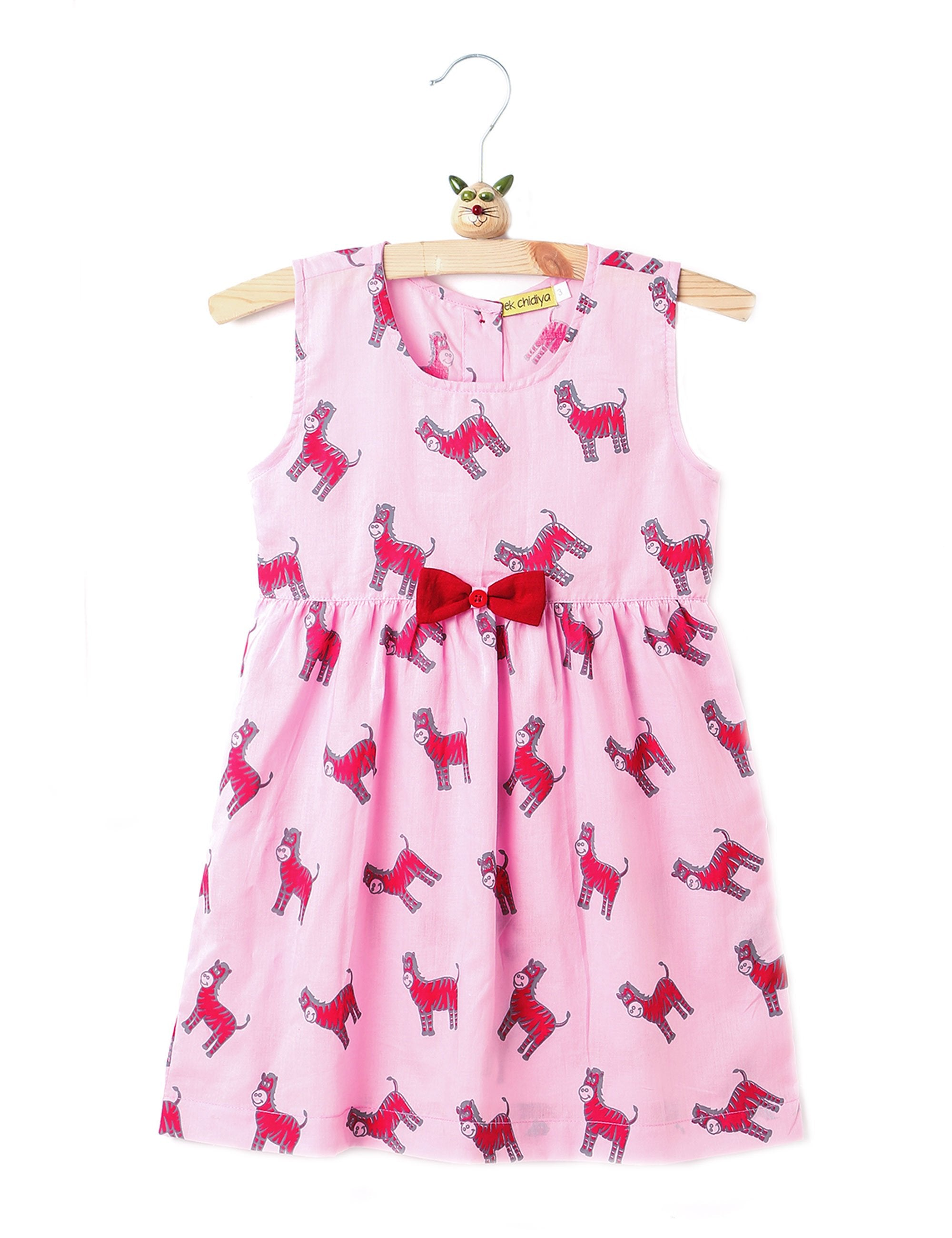 Printed Summer Frock In Light Pink Colour for Girls