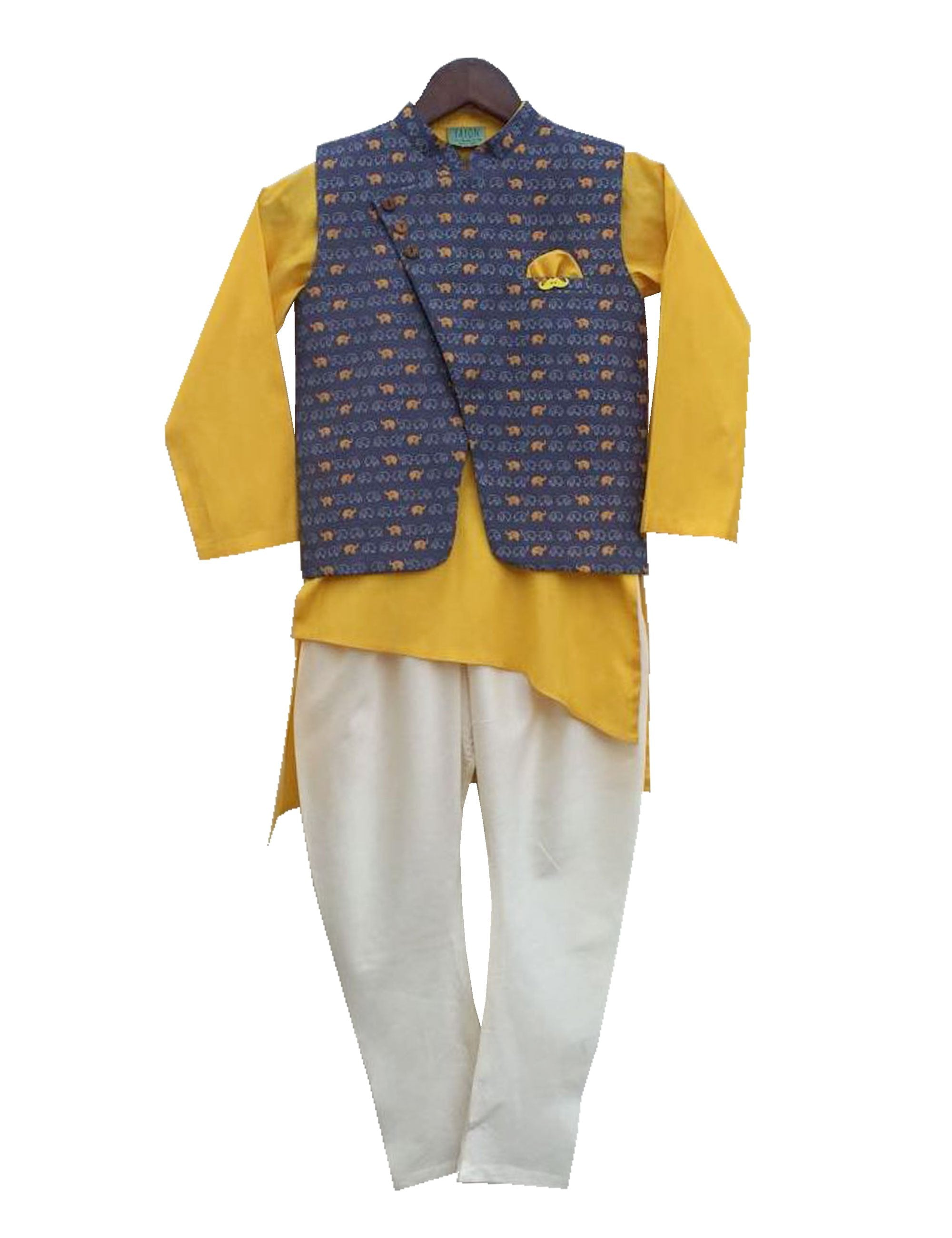 Nehru Jacket with Asymmetric Kurta and Churidaar in Yellow and White Colour for Boys