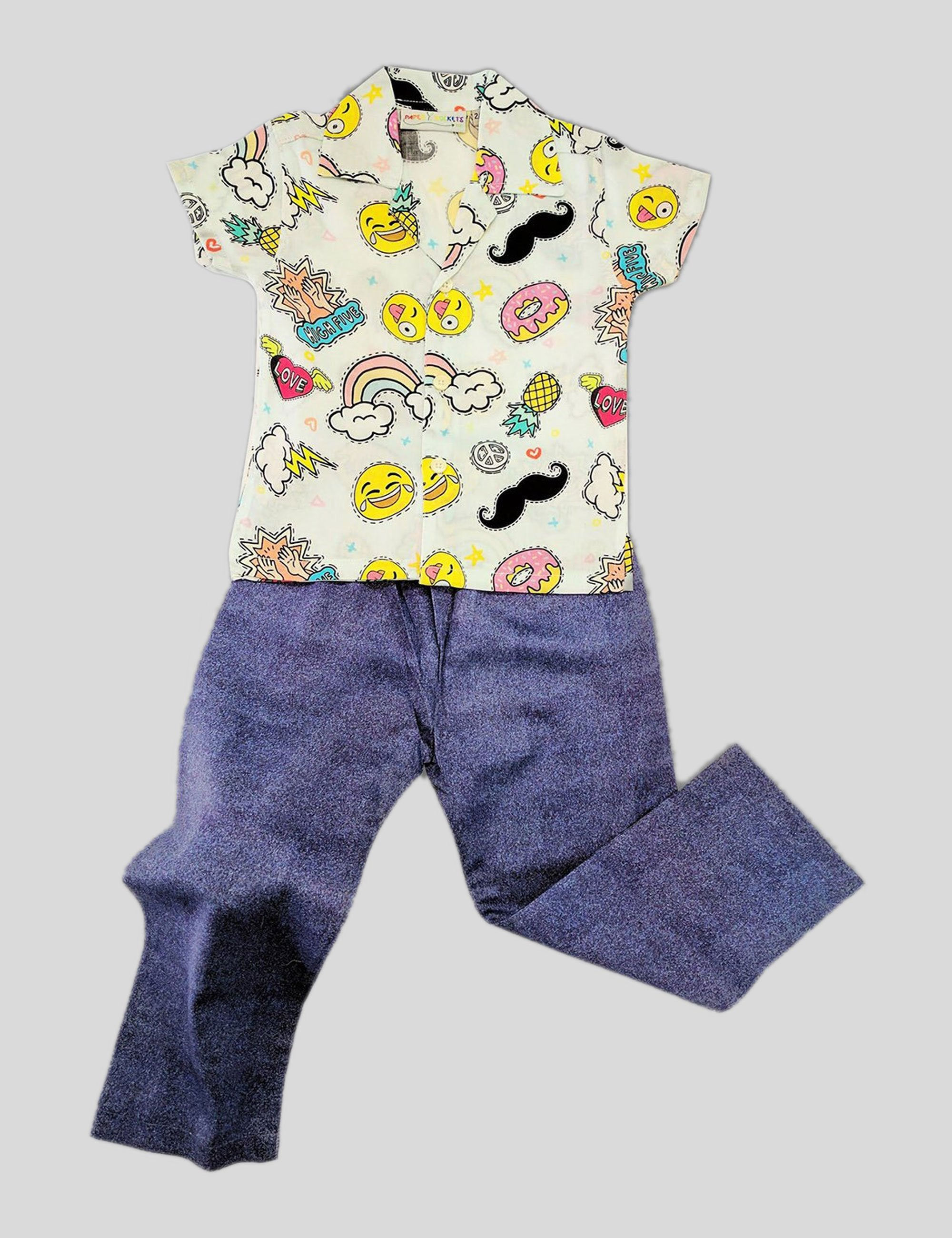 Smiley Faces , Pineapple and Rainbows Print Cotton Nightwear in Multi-Colour for Boys (Half Sleeves)