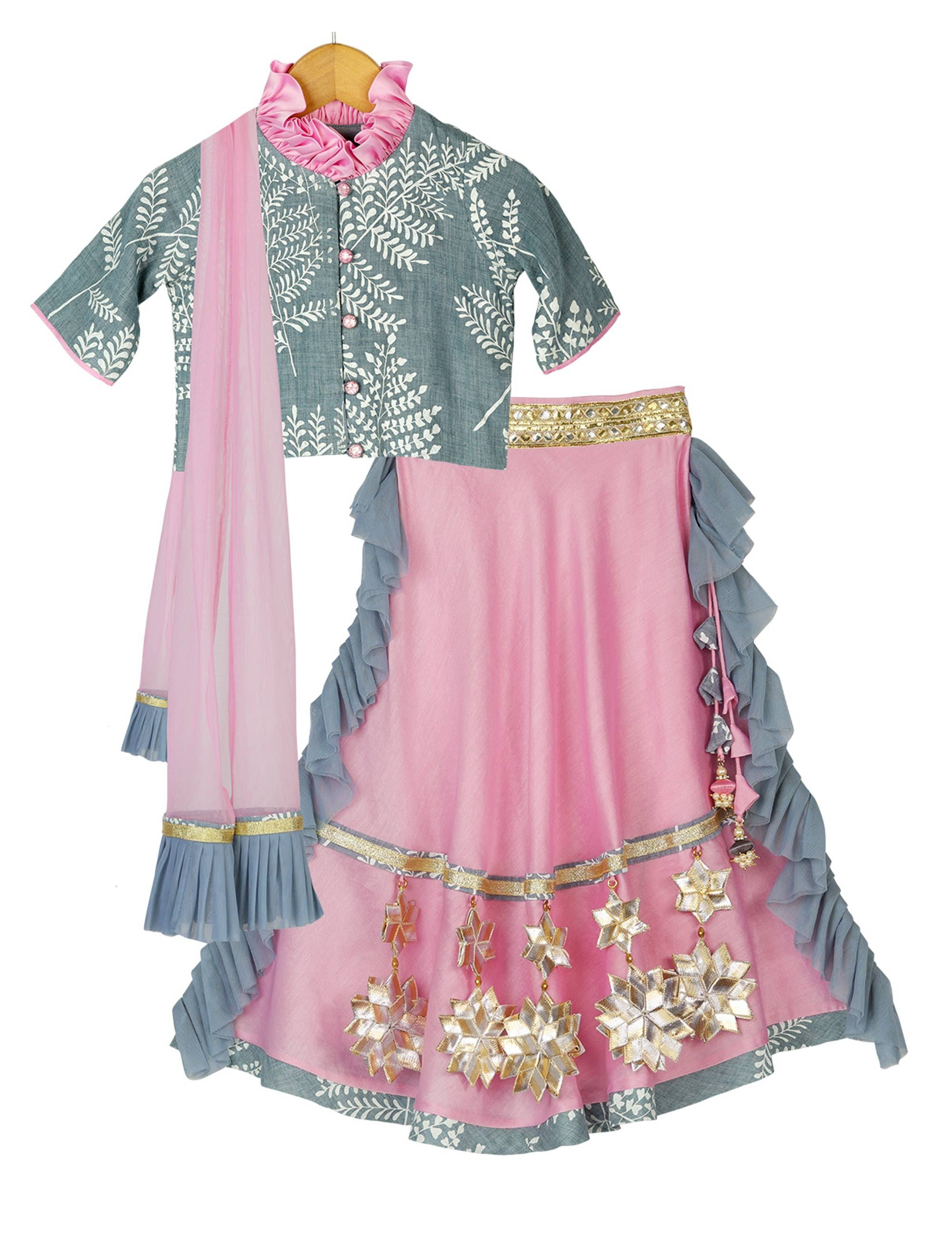 Starry Glitter Lehenga Choli in Pink and Blue Colour for Girls