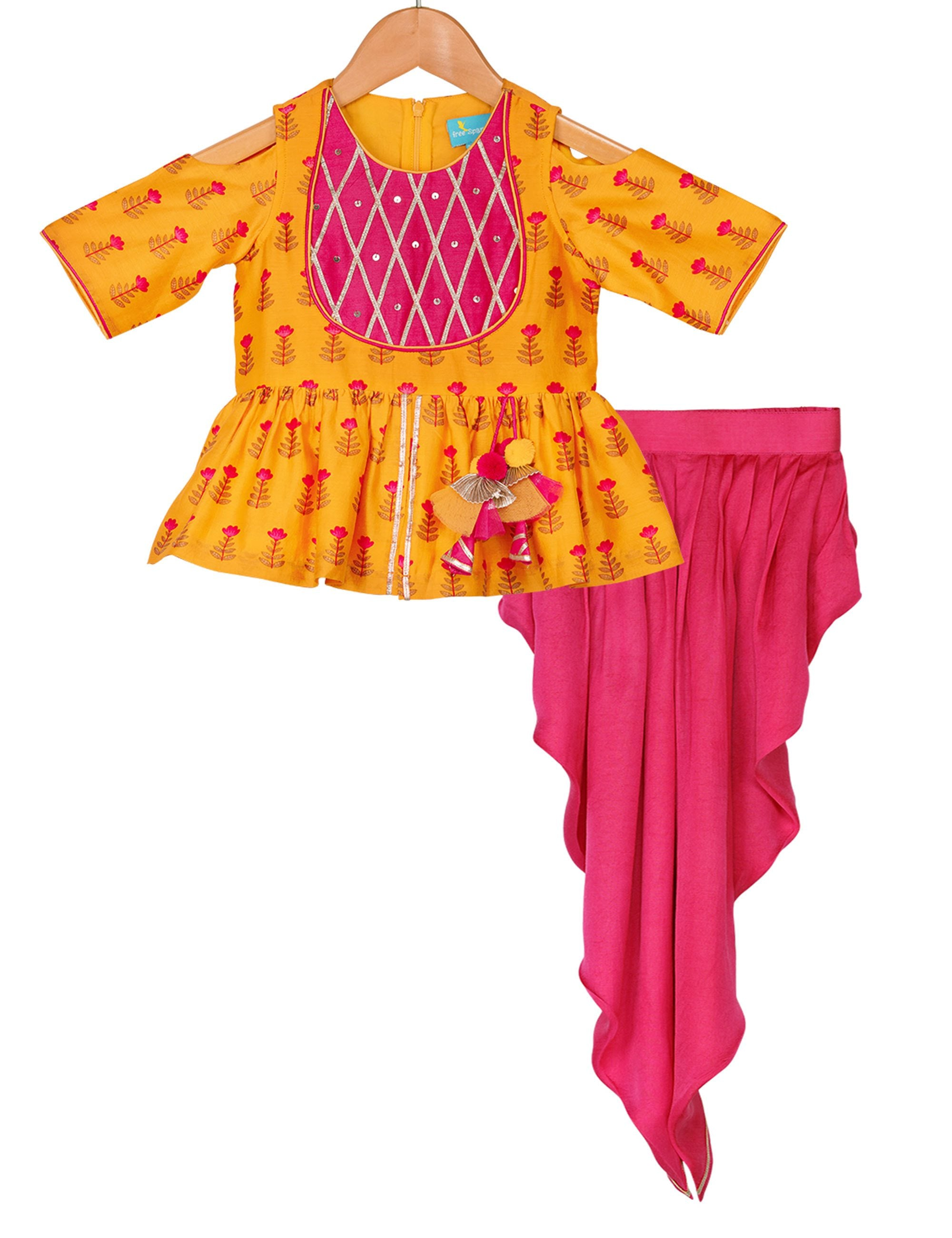 Dhoti Set in Yellow and Pink Colour for Girls
