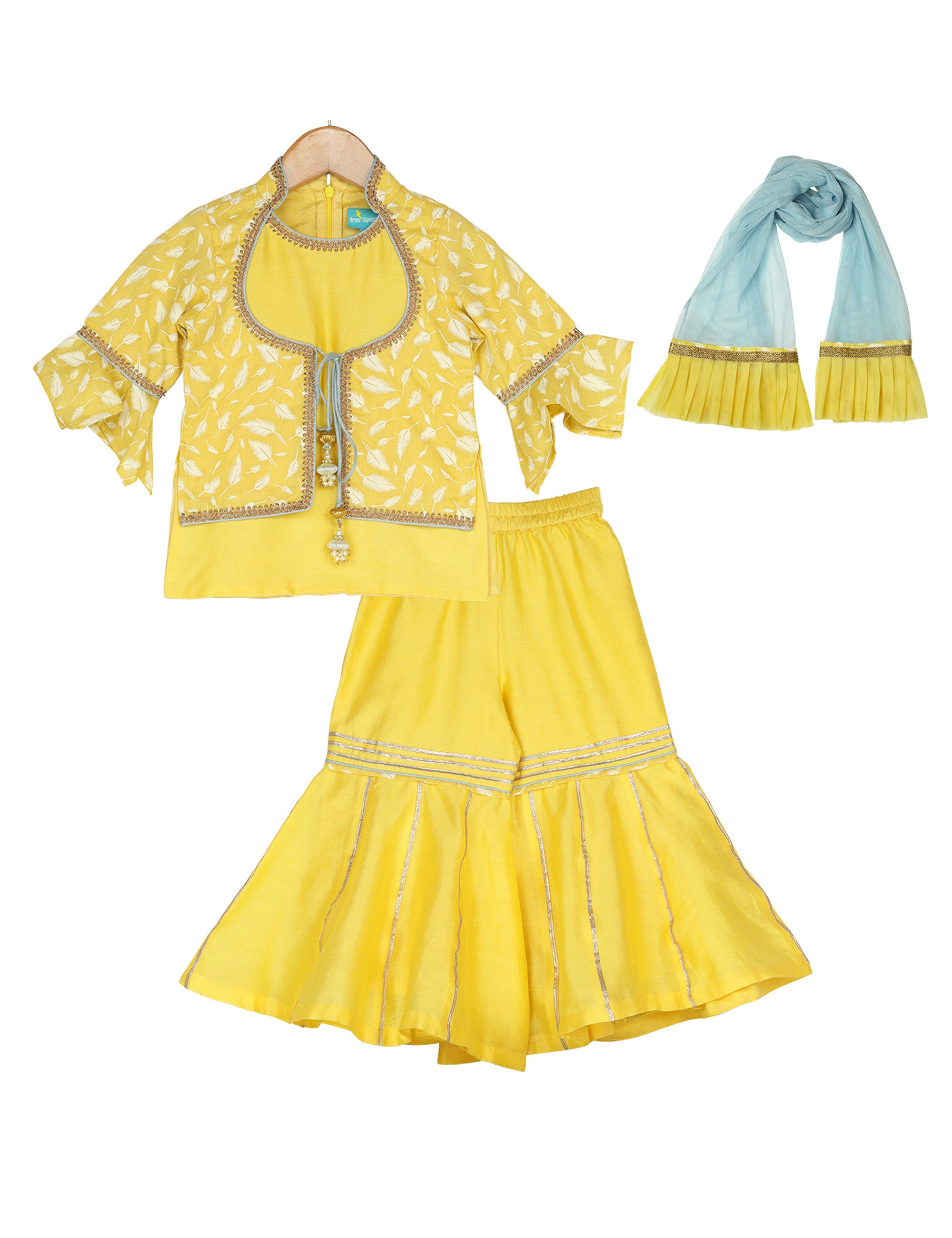 Belle Yellow Sharara Set for Girls