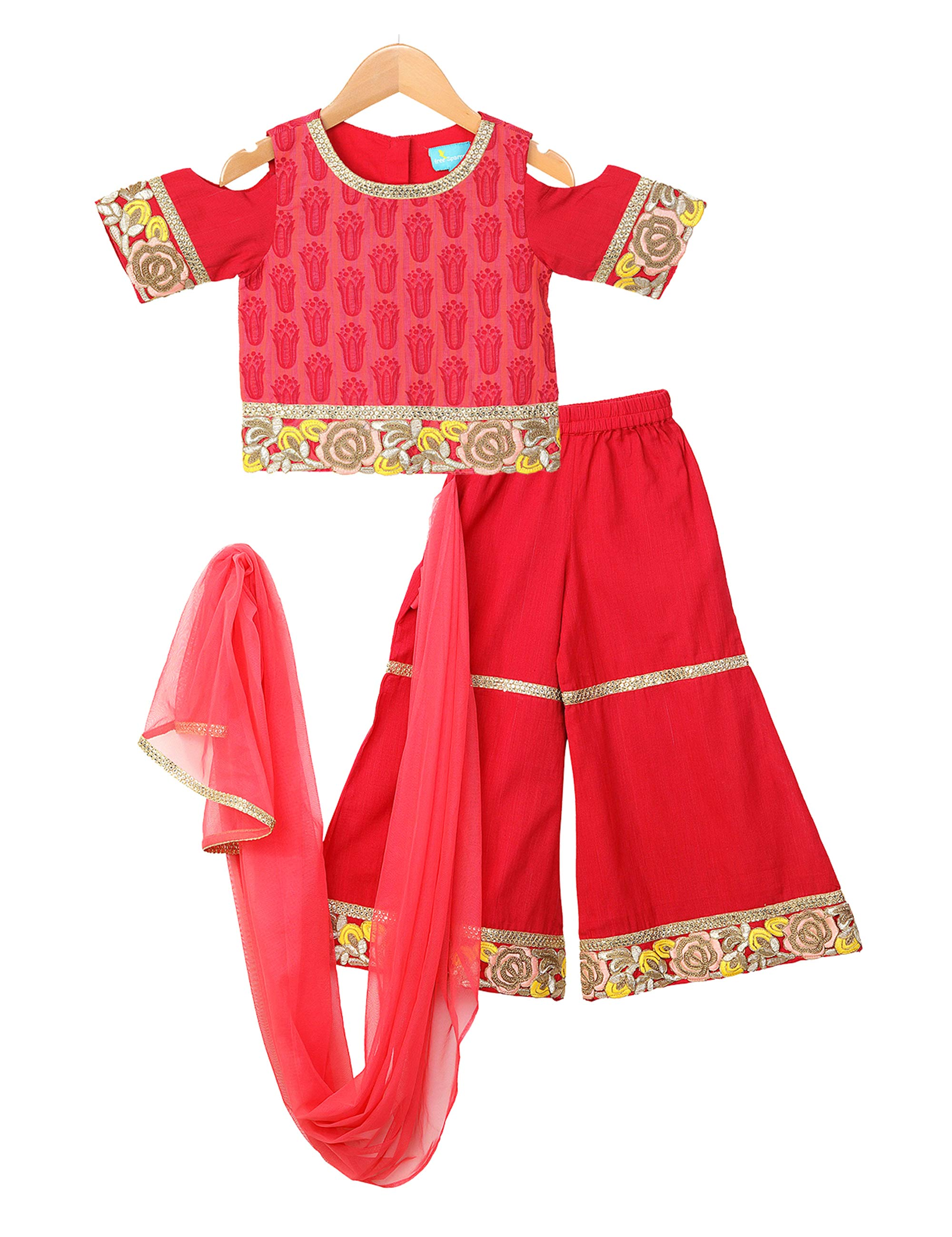 Red Palazzo Set for Girls