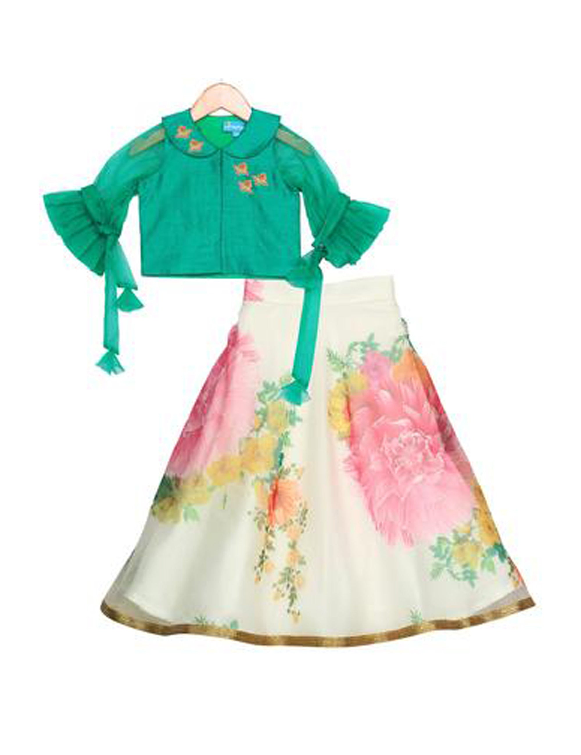 Arctic Bloom Lehenga for Girls