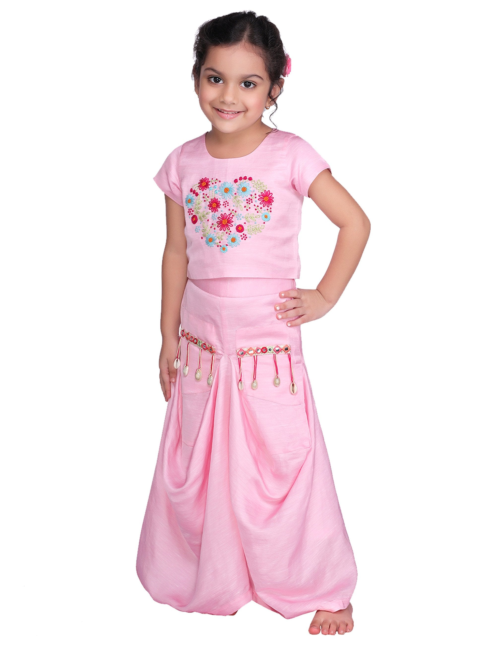 Pink Daisy Dhoti Skirt Set