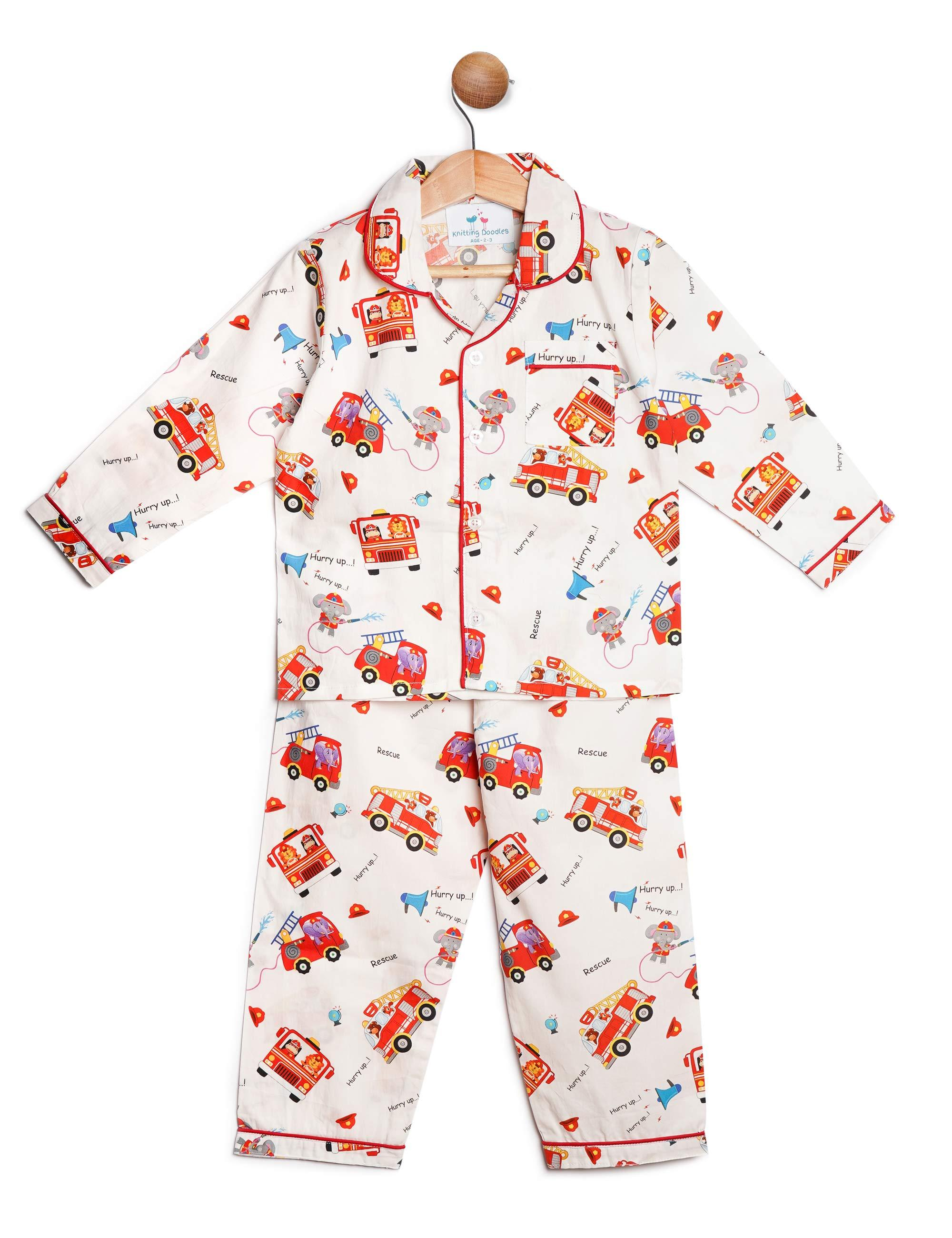 Fire Brigade Print Night Suit for Boys and Girls