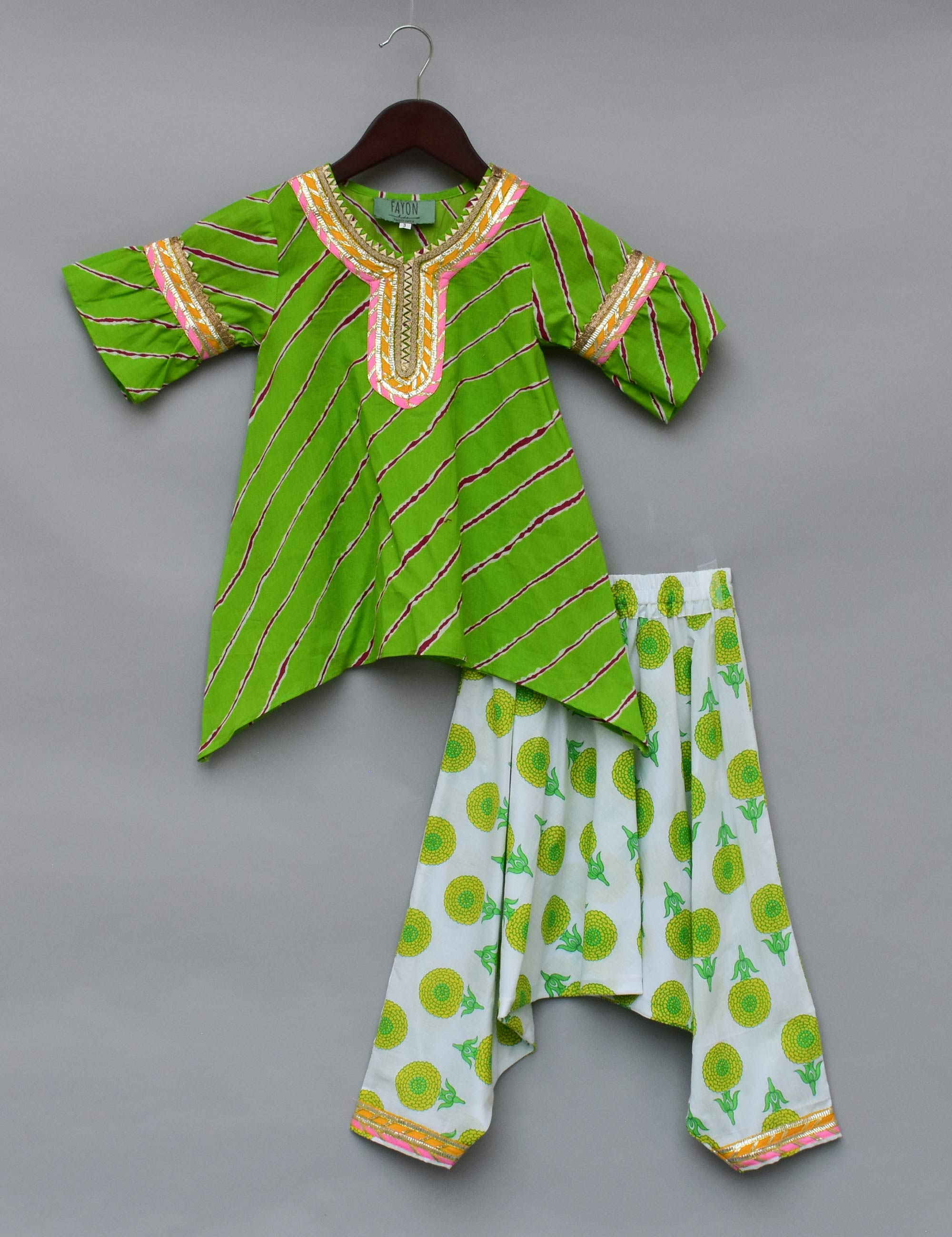 Green Lehariya Kurti with Dhoti