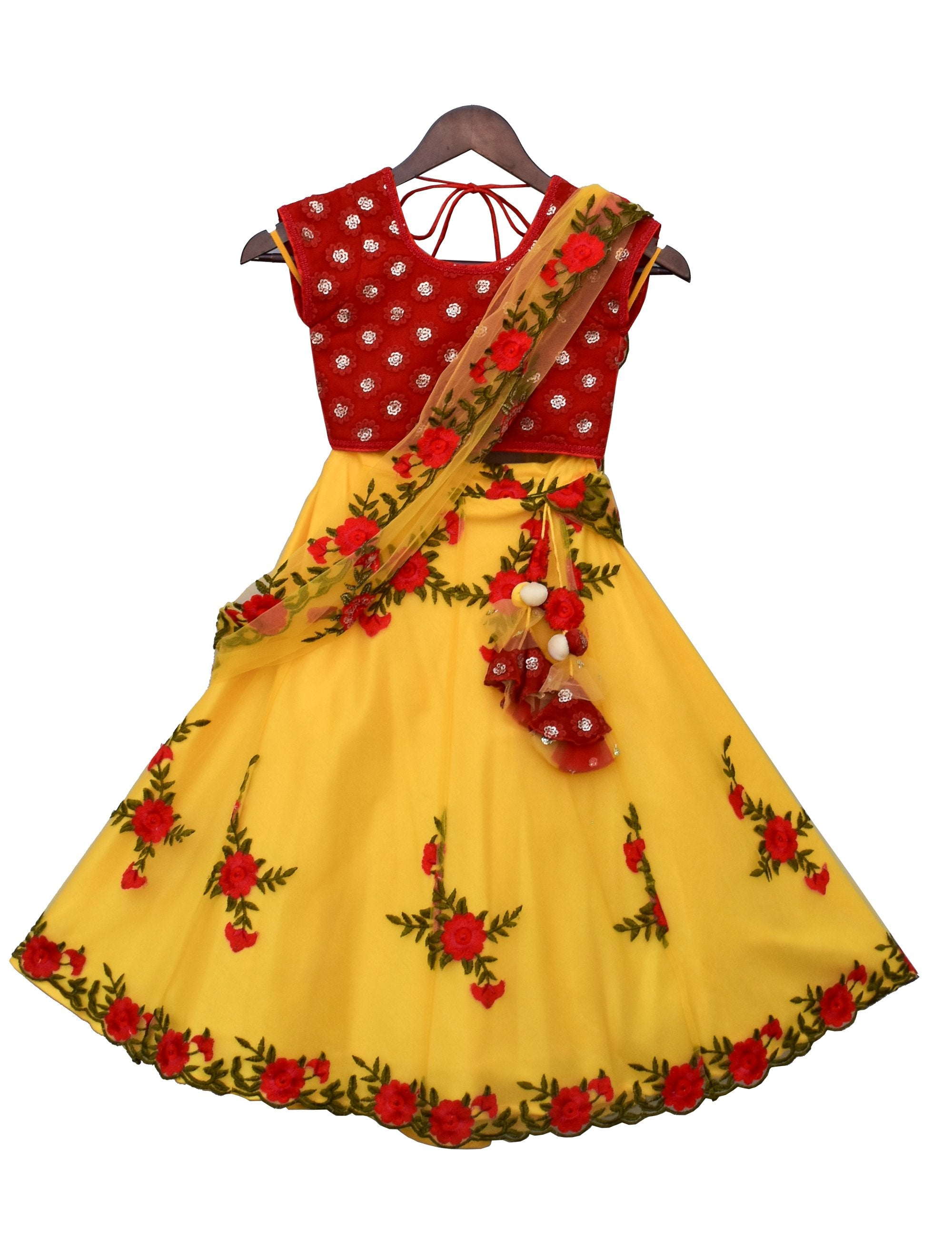 Red Embroidery Choli with Yellow Embroidery Lehenga