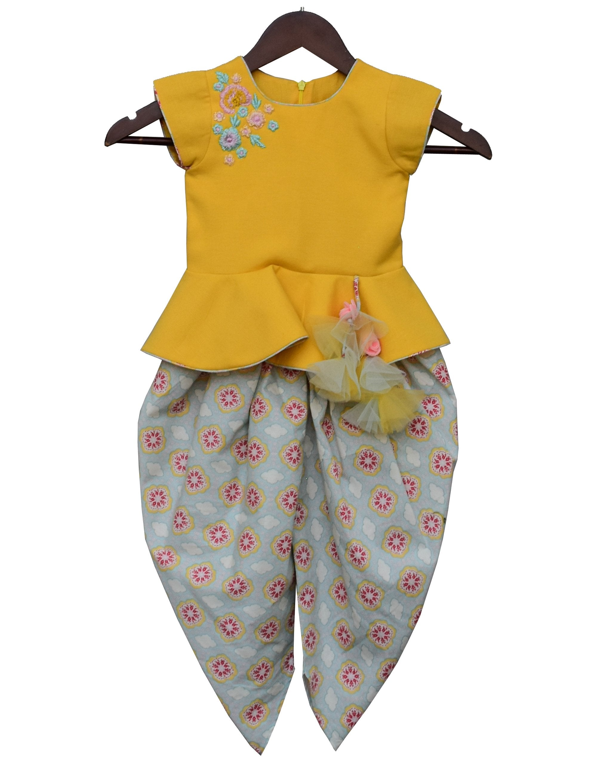 Yellow Linen Peplum with Printed Dhoti
