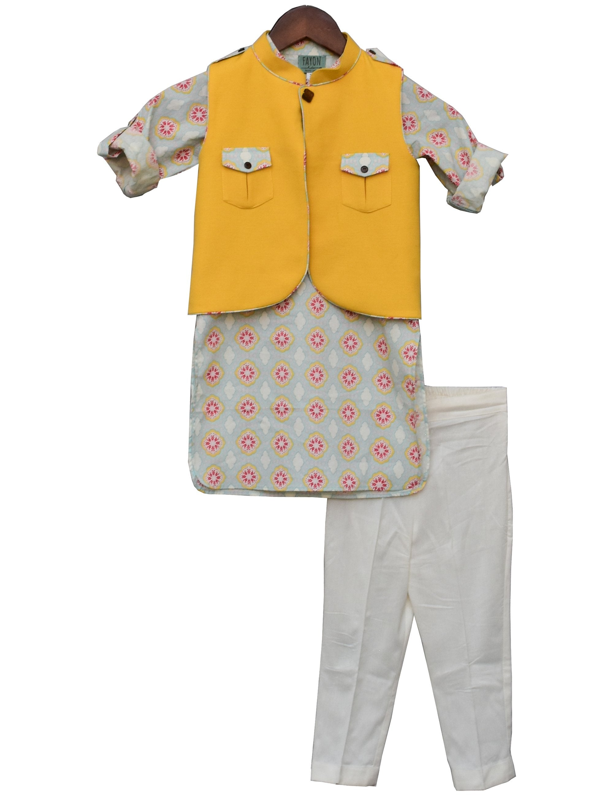 Yellow Linen Nehru Jacket with Printed Kurta & Churidar