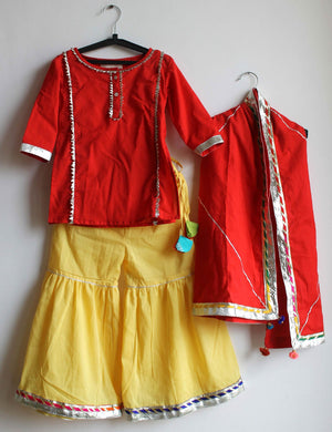 Gota Work Sharara in Red Colour for Girls