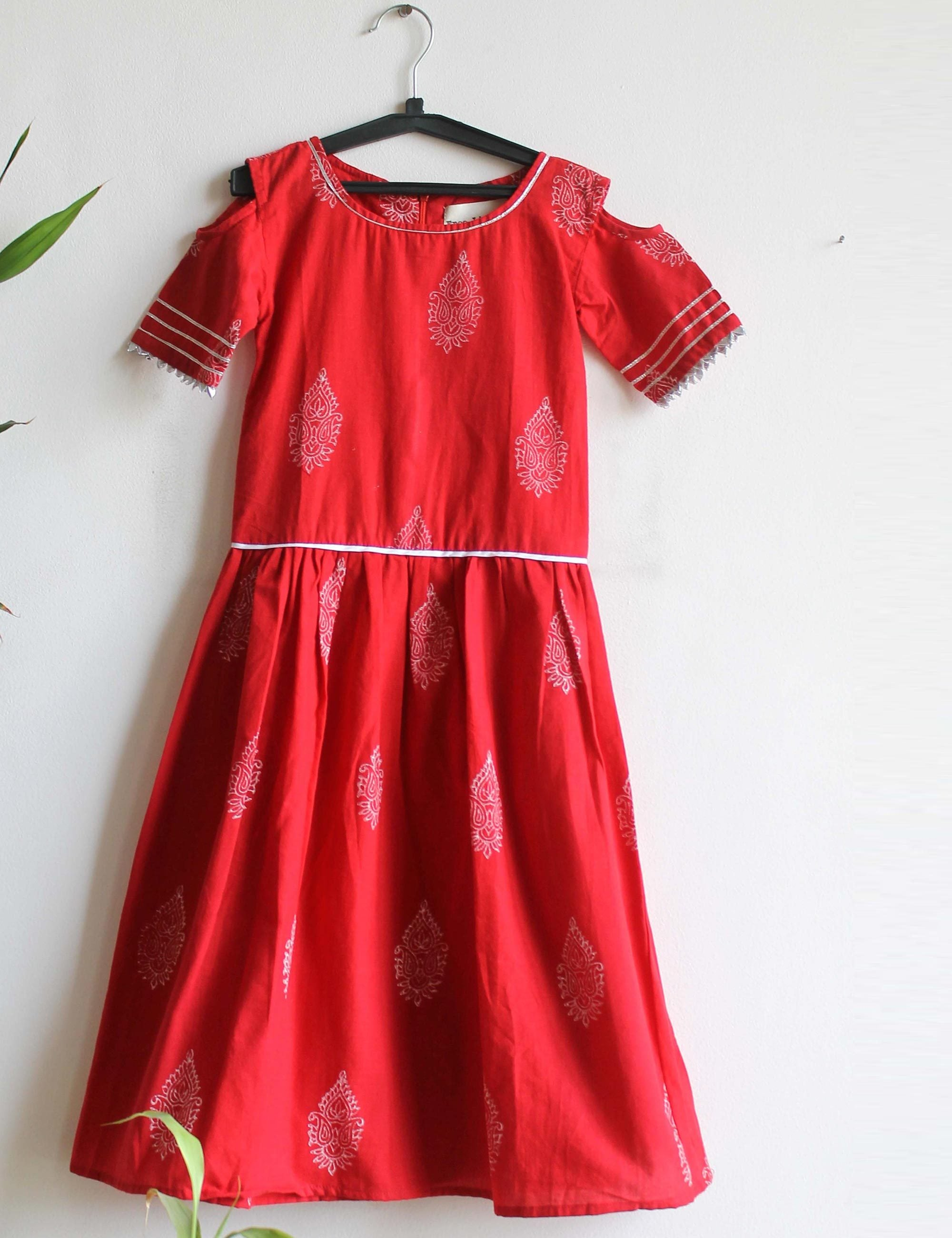 A Cold Shoulder Dress in Red Colour for Girls