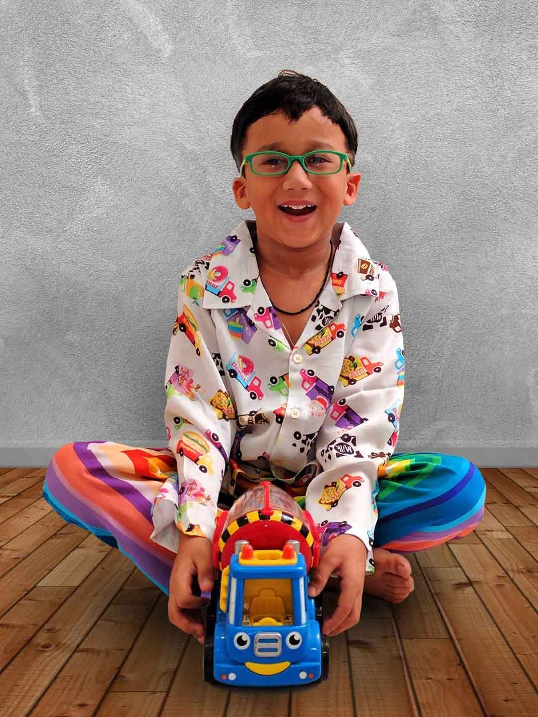 Food Trucks Print Cotton Nightwear in Multi-Colour for Boys (Full Sleeves)