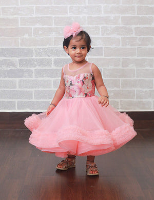 Stylish Pink Party Dress for Girls