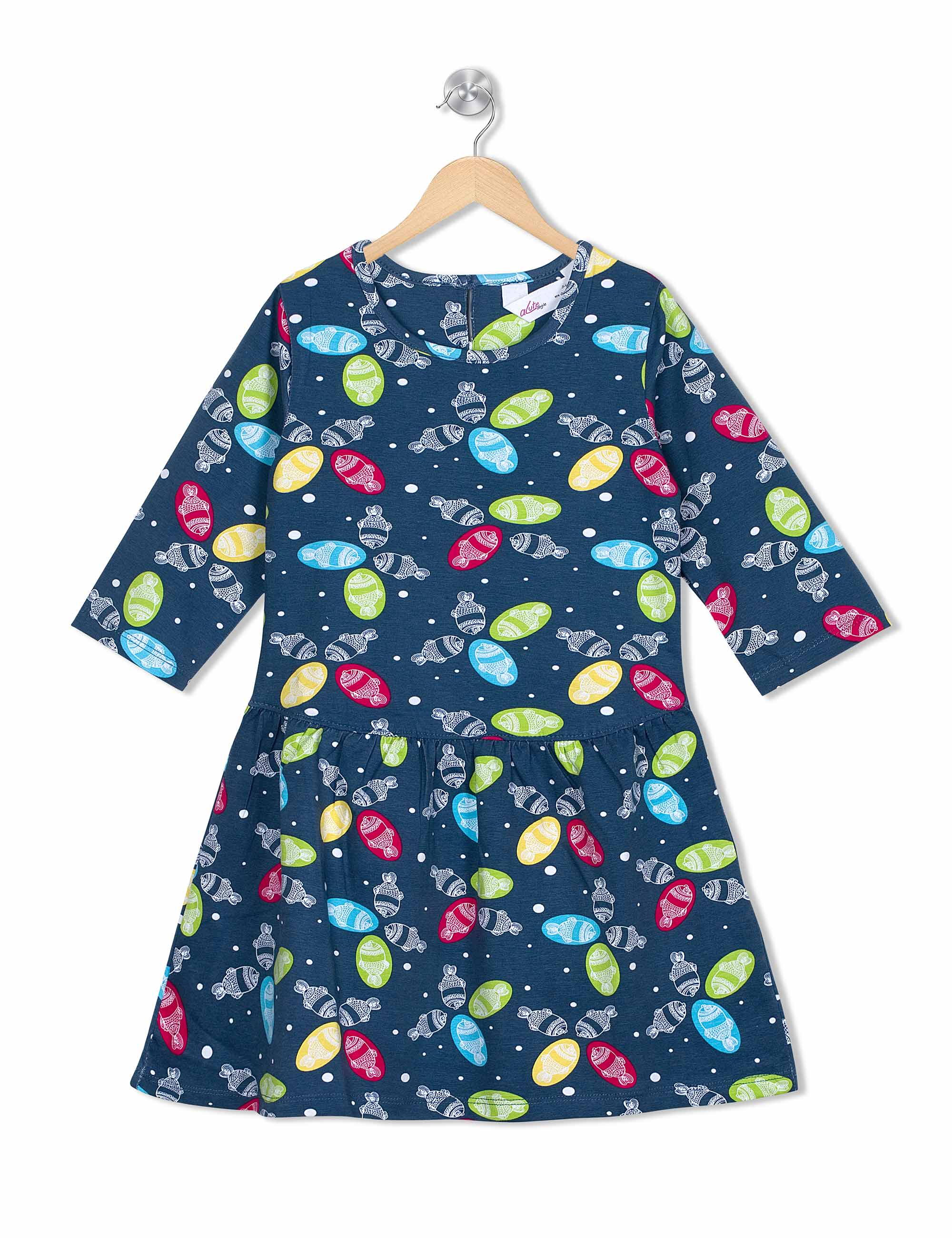 Funky Fish frock In Grey Colour for Girls