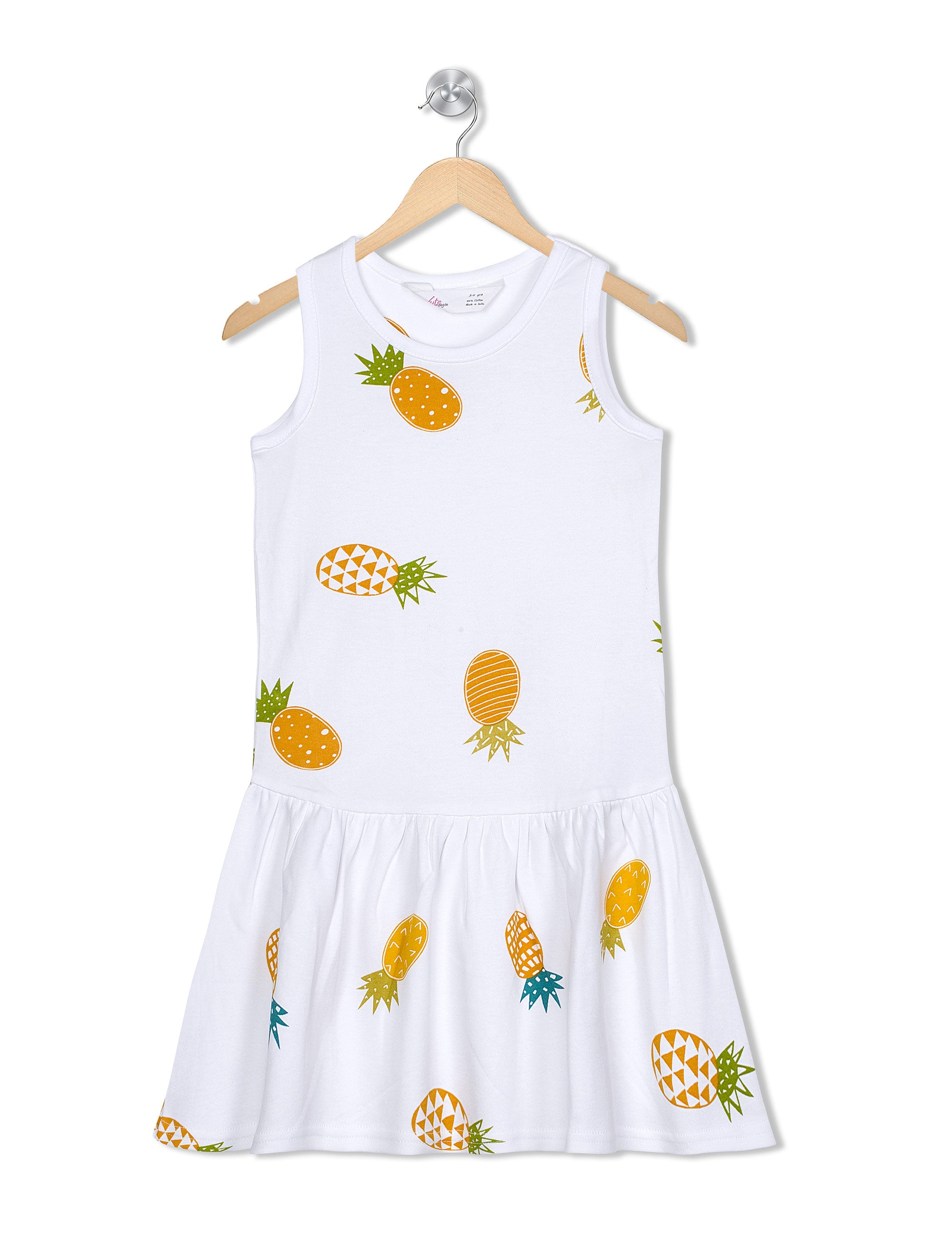 Perky Pineapple frock in White & Yellow Colour for Girls