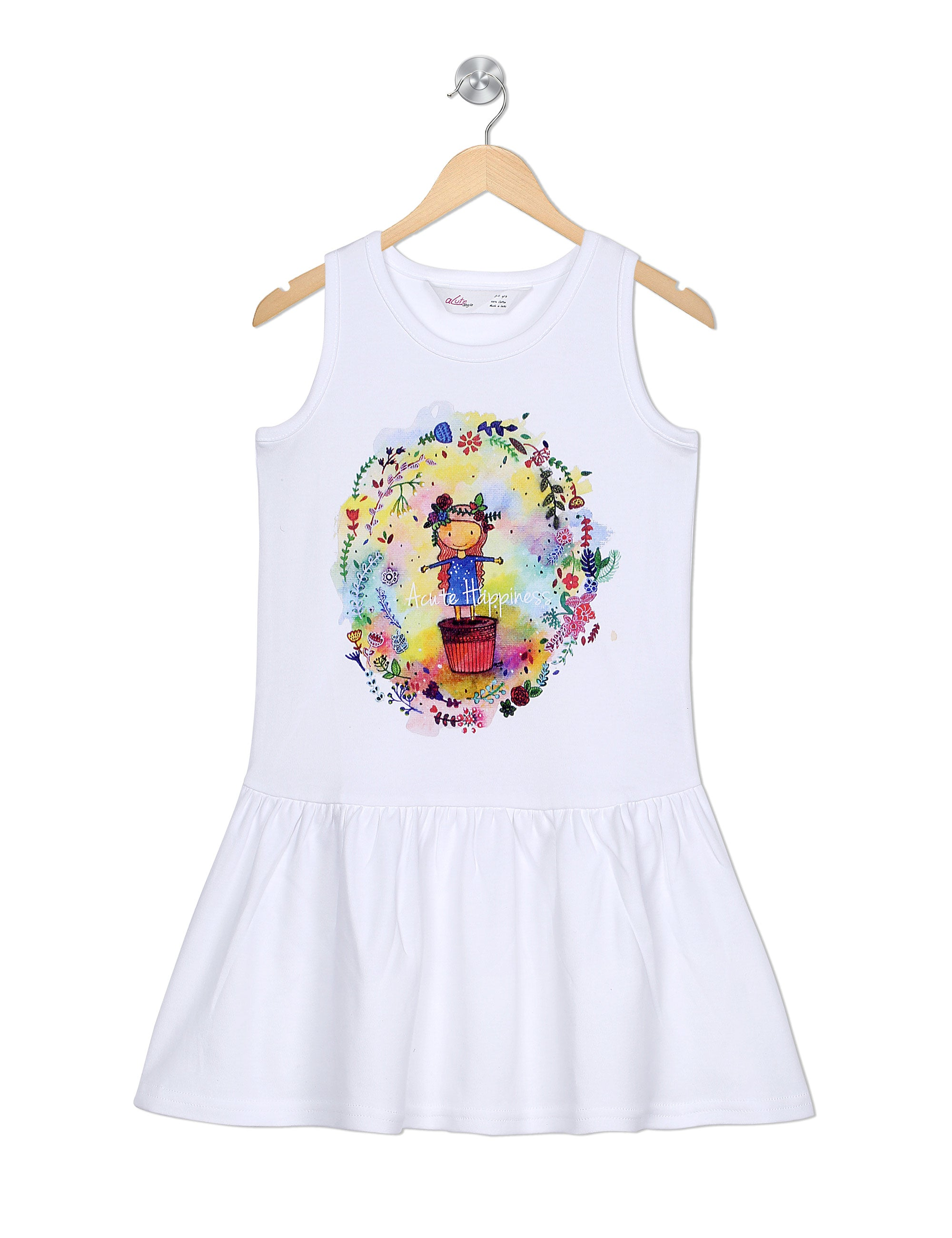 Happiness Frock In White Colour for Girls