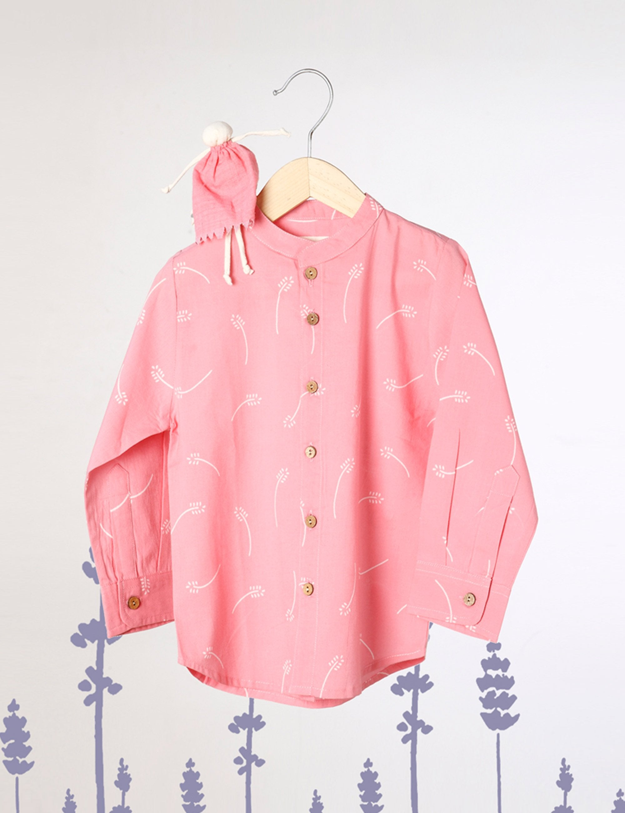 Barefoot Boy - Chinese Collar Shirt In Pink with White Floral Print