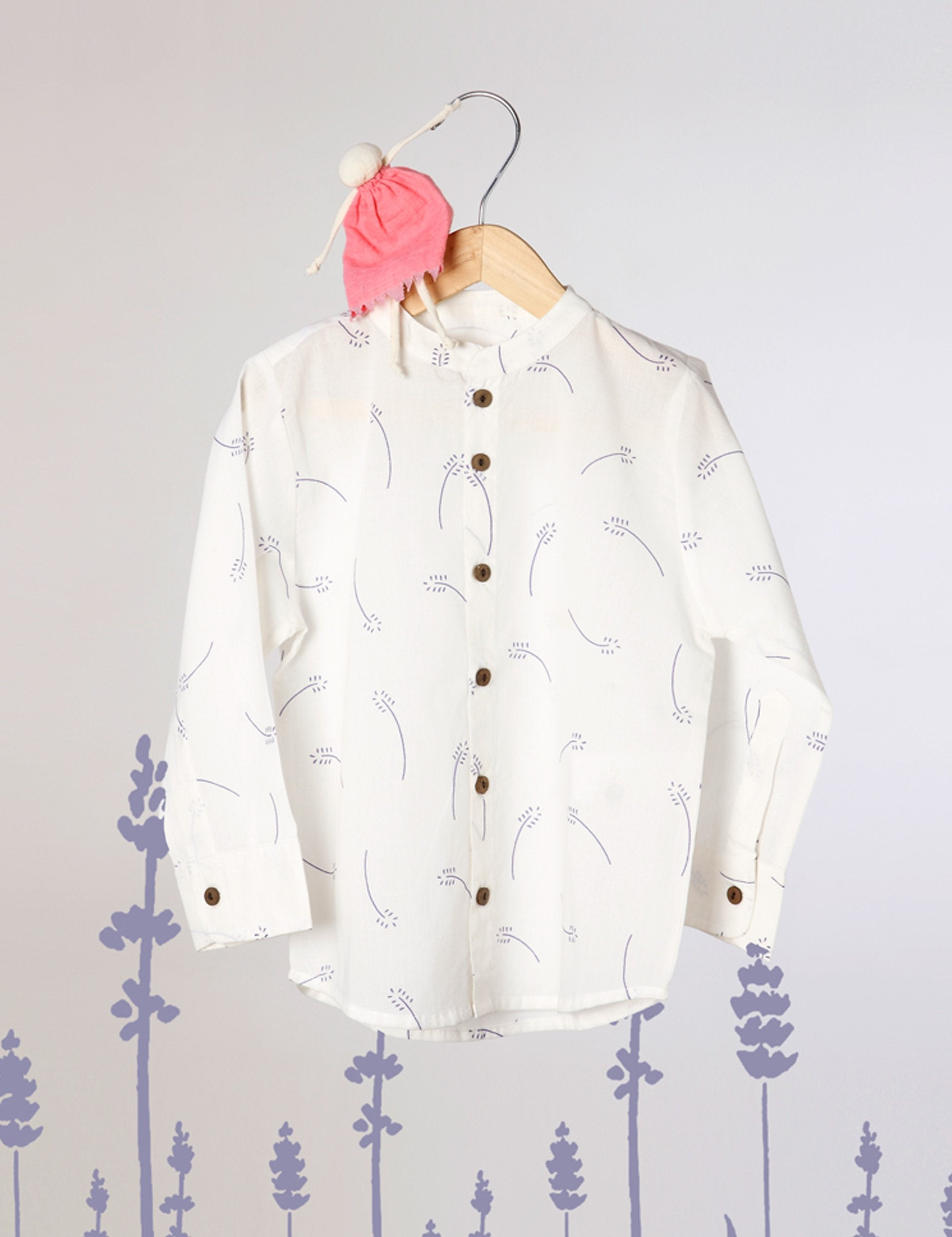 Barefoot Boy - Chinese Collar Shirt In White with Lavender Floral Print