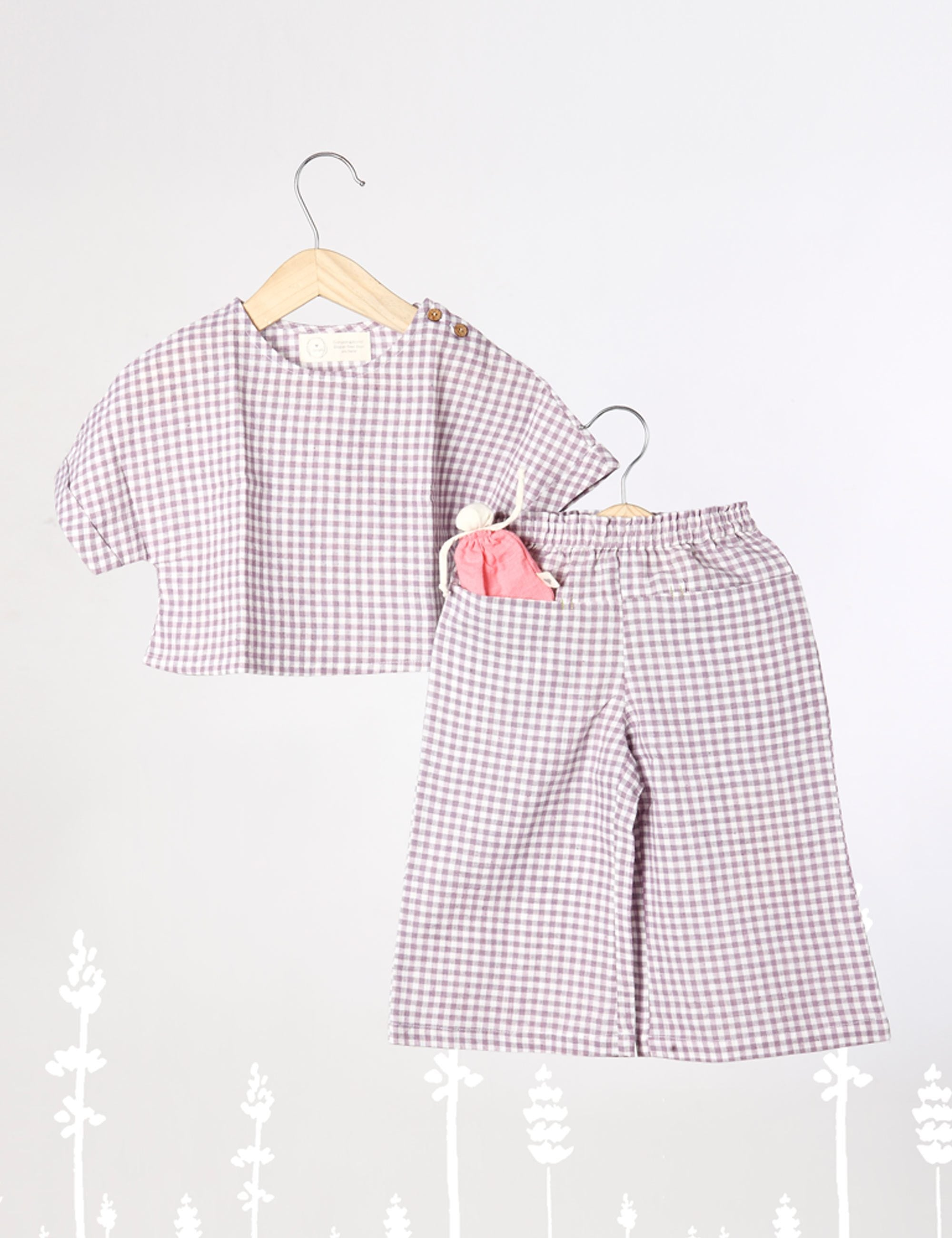 A Whiff for Miles  - Co-ord Crop Top Set with Pants In Lavender Checks