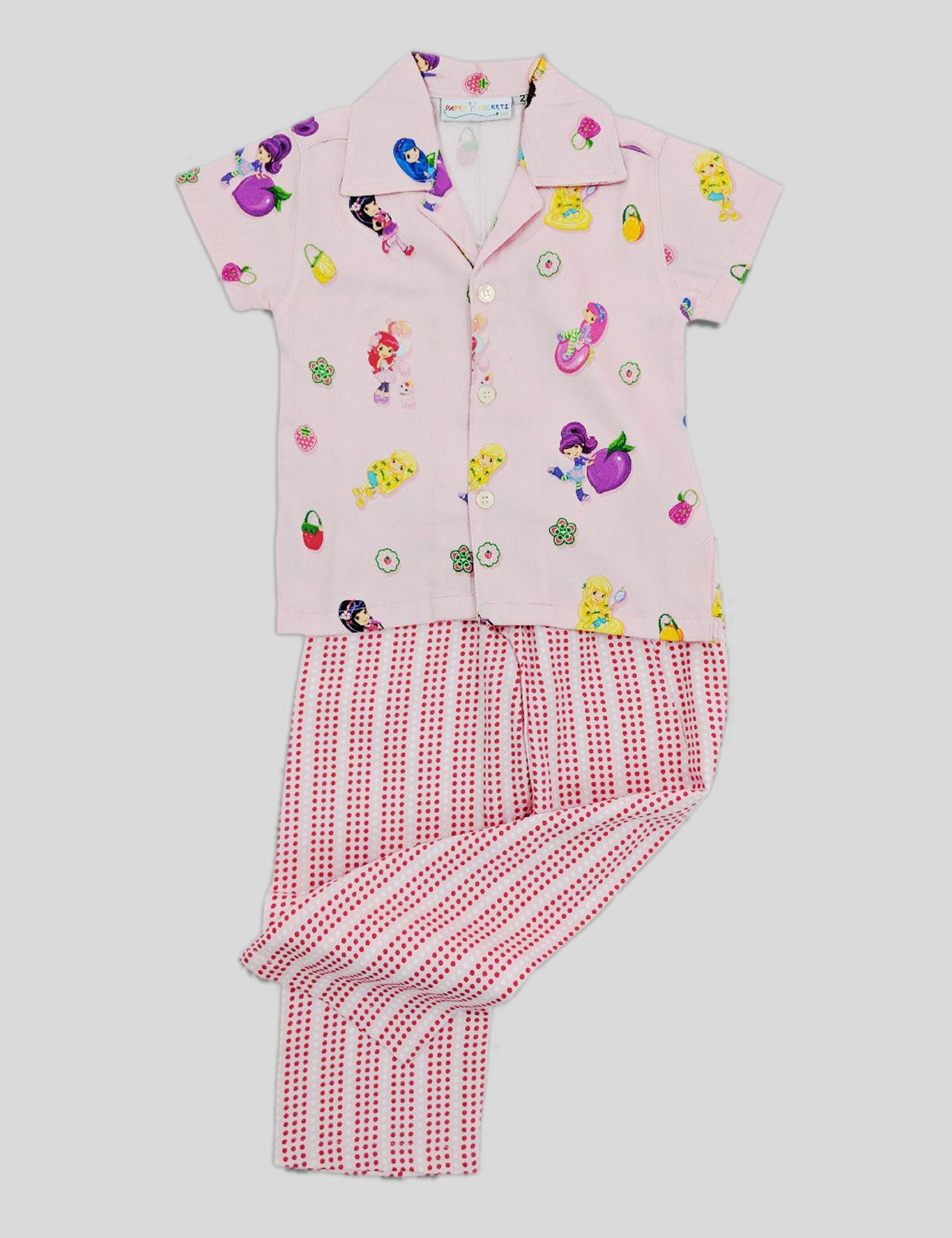 Fruity Fairies Print Nightwear in Multi-Colour for Girls (Half Sleeves)
