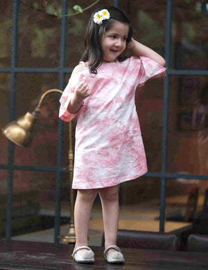 Tie and Dye Off Shoulder Dress in Pink Colour for Girls