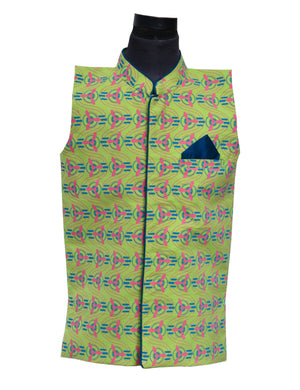 Nehru Jacket in Green Colour for Boys