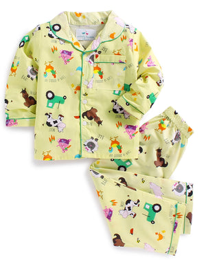 Farm Animals Print Night Suit for Girls