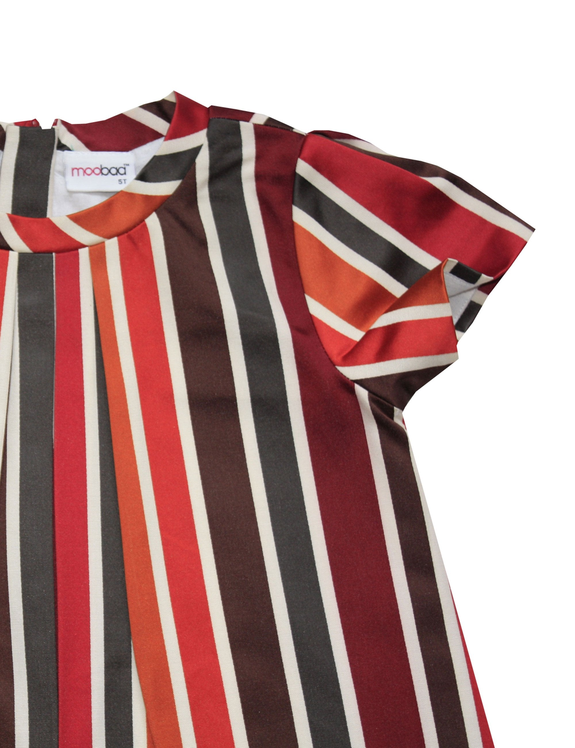 Cotton Stripe Dress in Red Colour for Girls