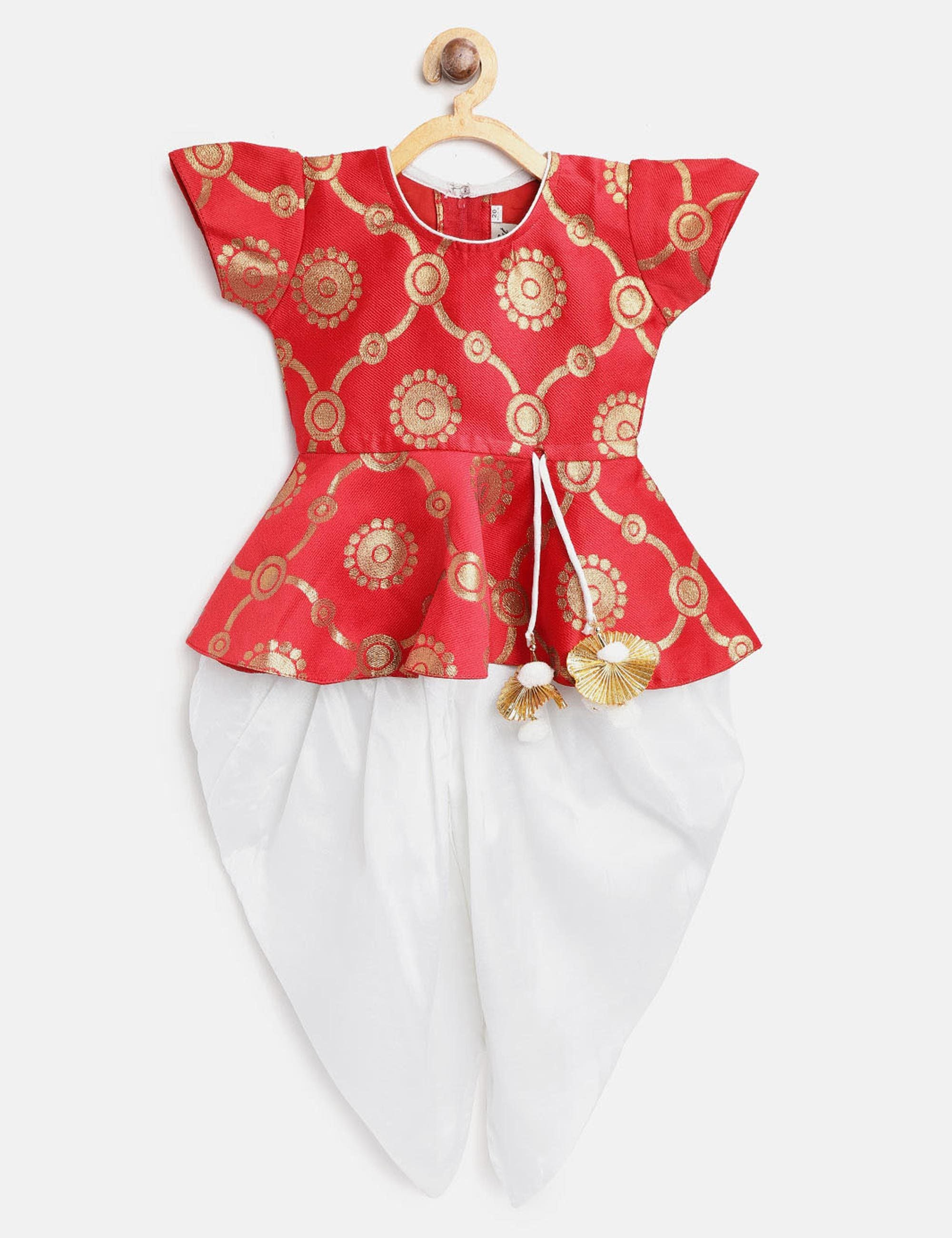 Ethnic Doll Jacquard Dhoti Peplum Top- Red