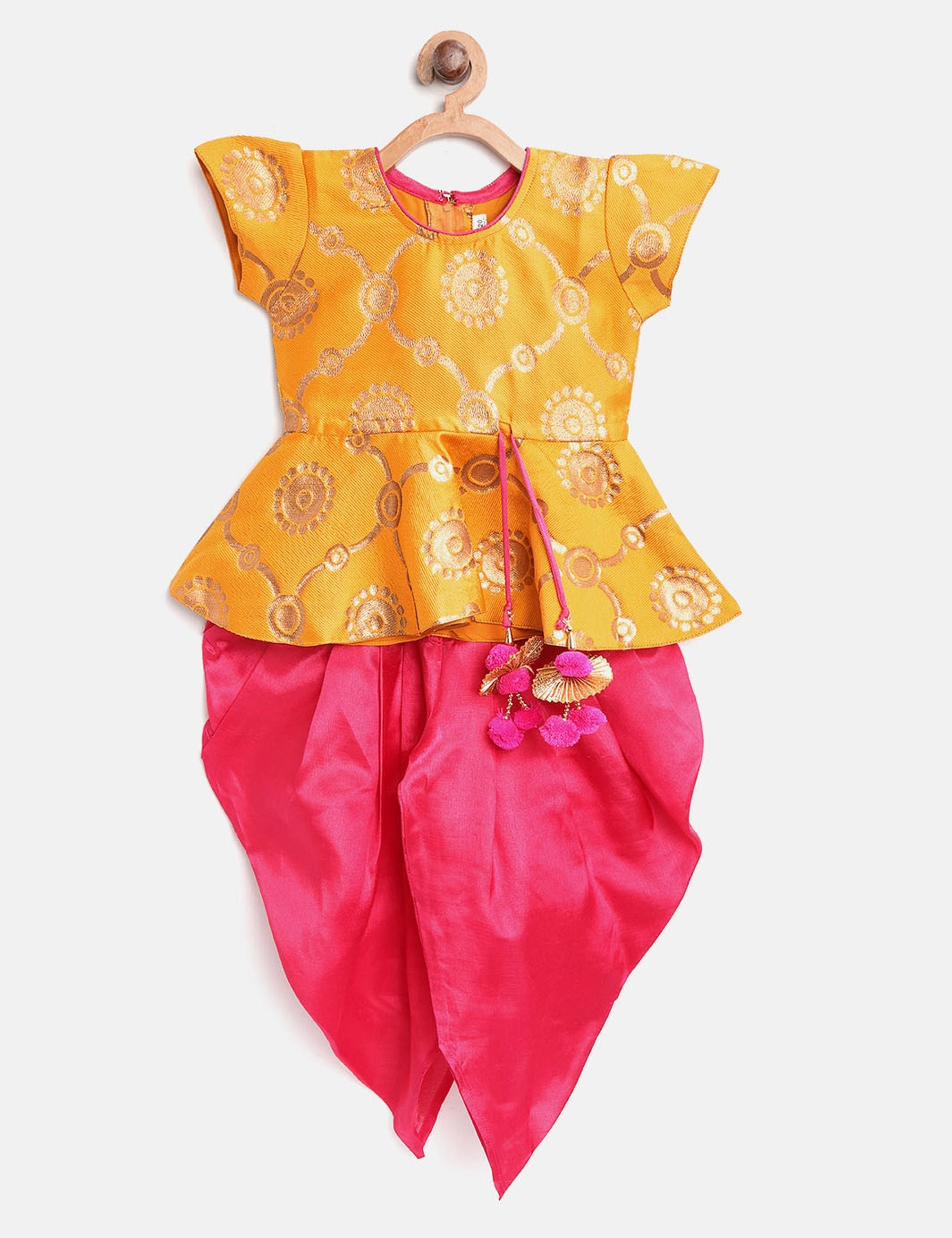 Ethnic Doll Jacquard Dhoti Peplum Top- Yellow.