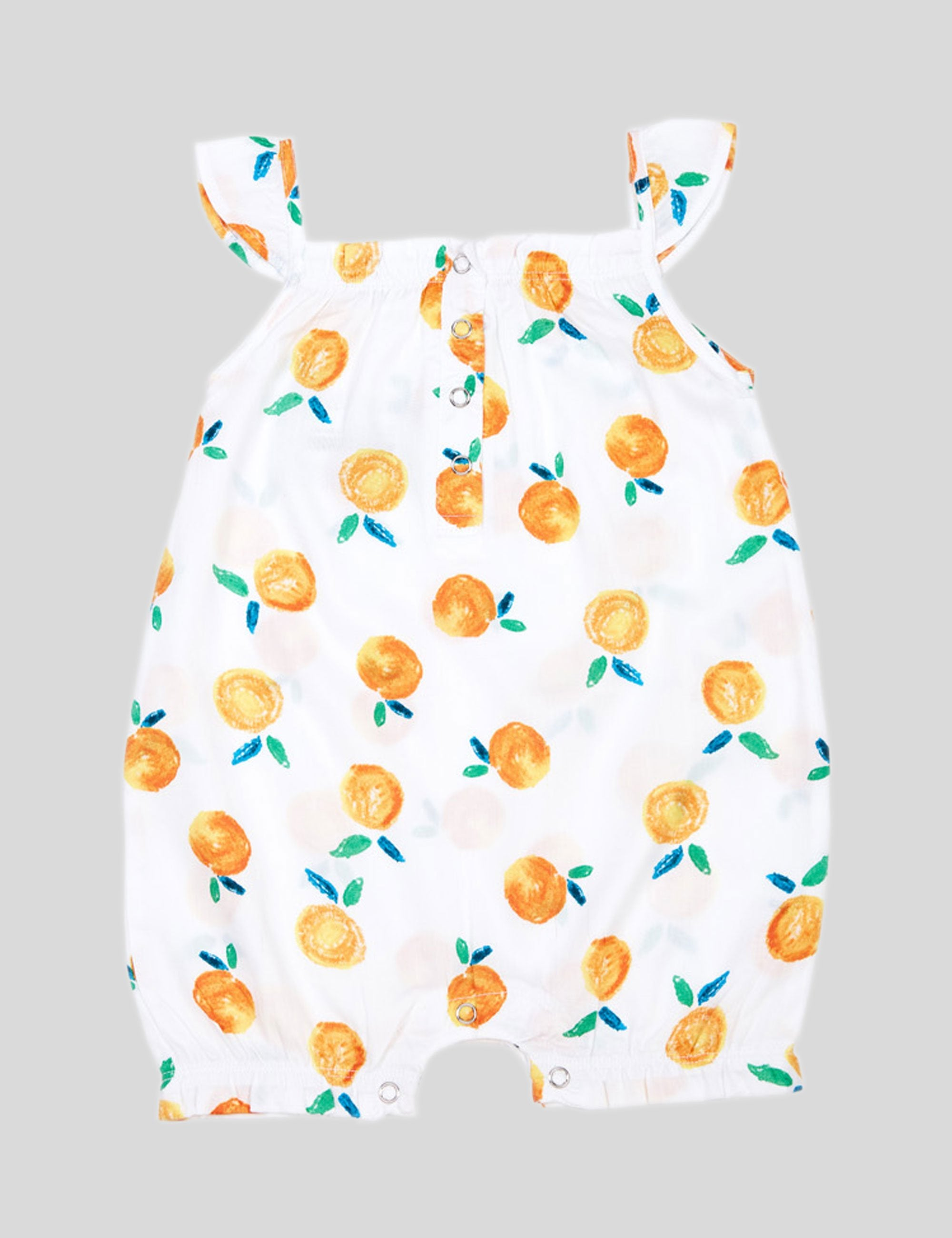 Tangerine Girls Cotton Romper in Orange for Girls
