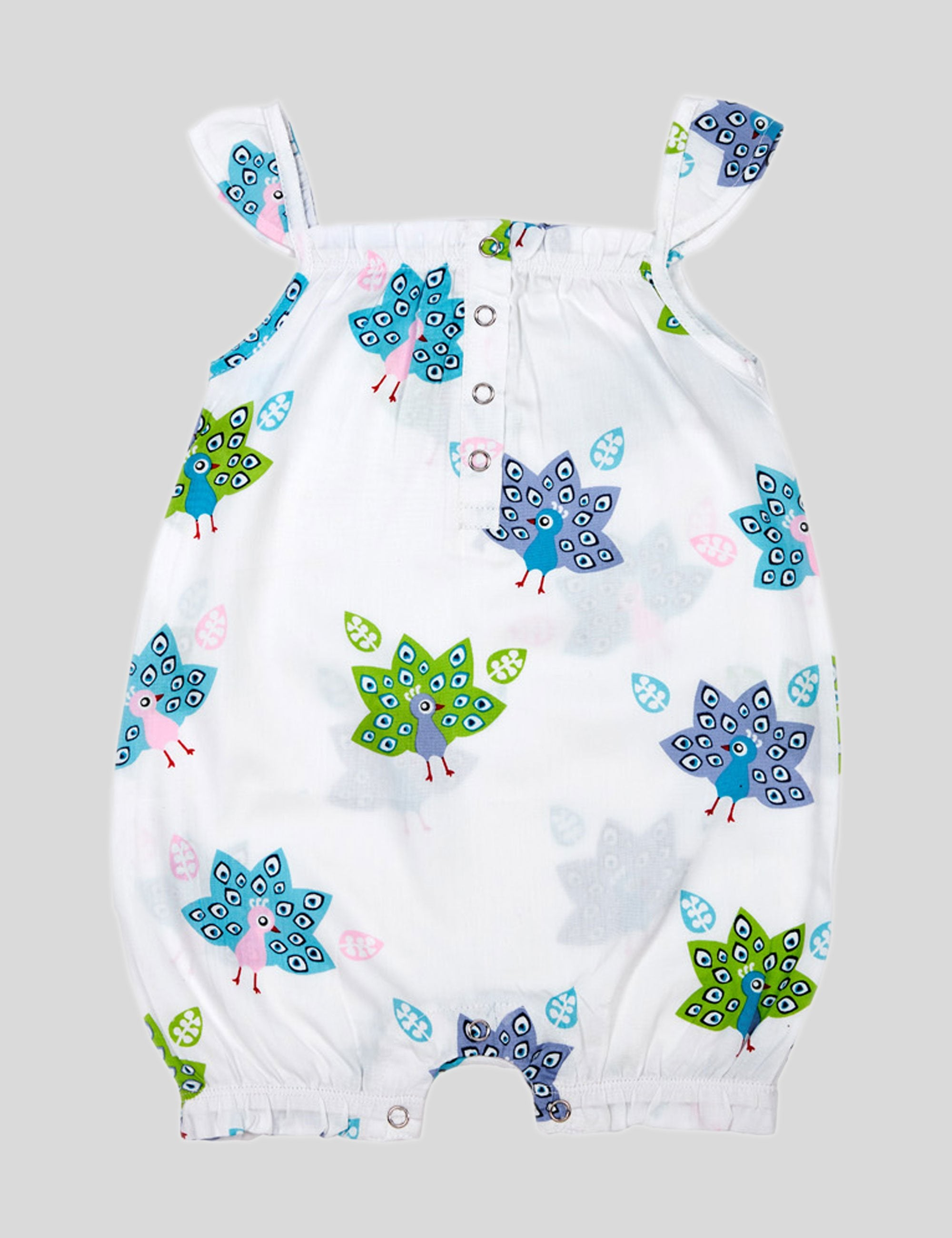 Peacock Cotton Romper in White for Girls