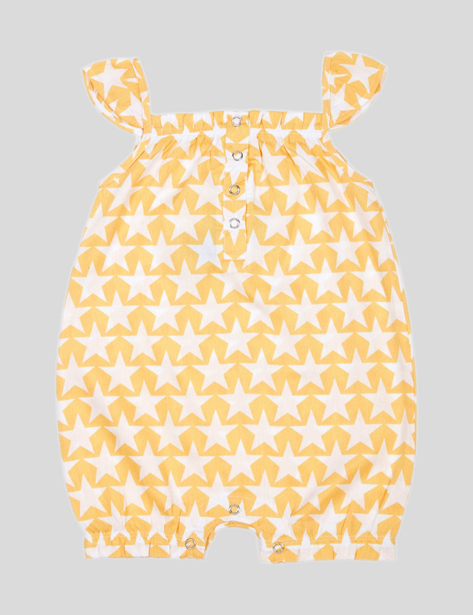 Star Cotton Romper in Yellow for Girls
